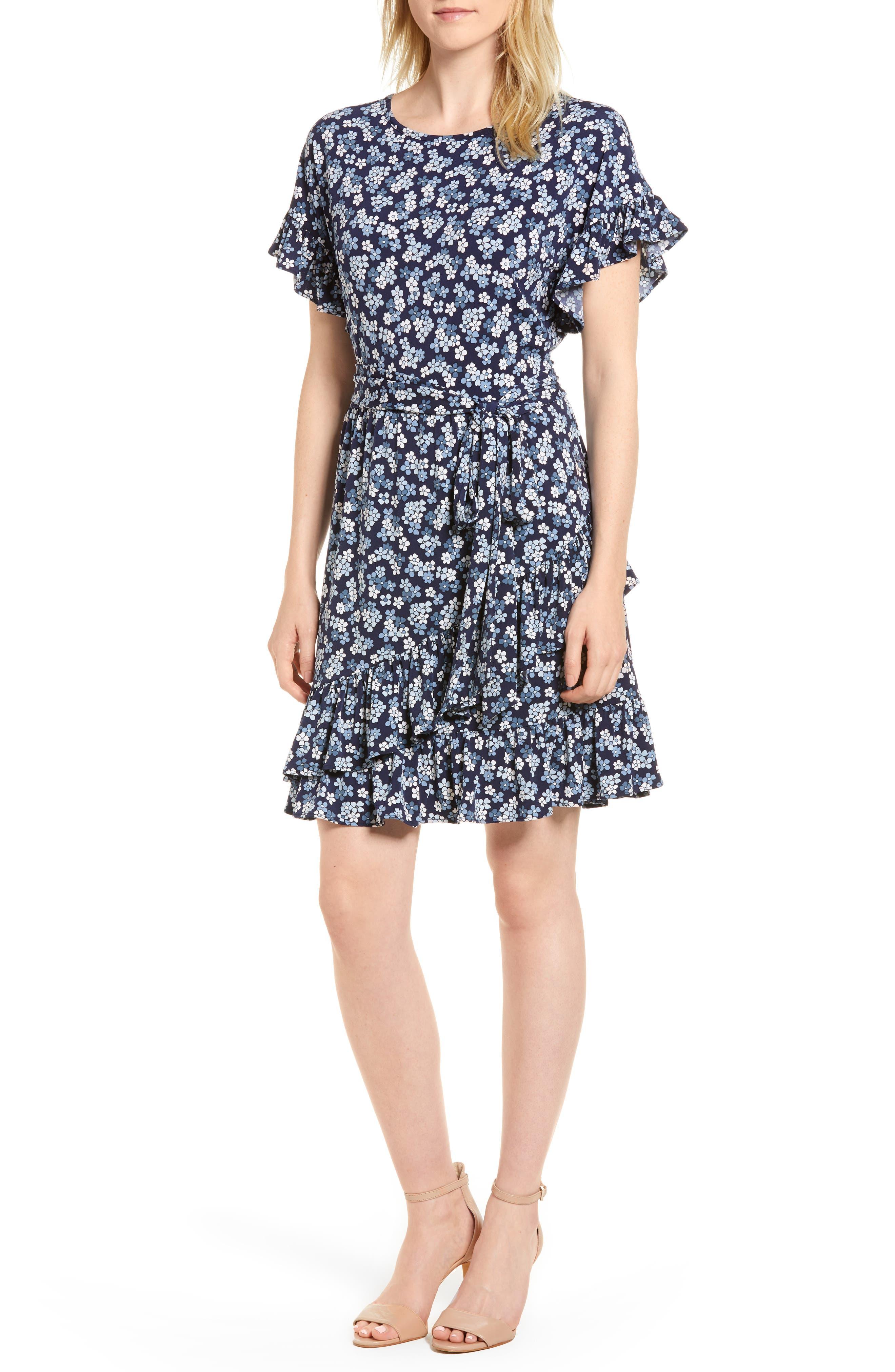 MICHAEL Michael Kors Cherry Blossom Ruffle Wrap Dress