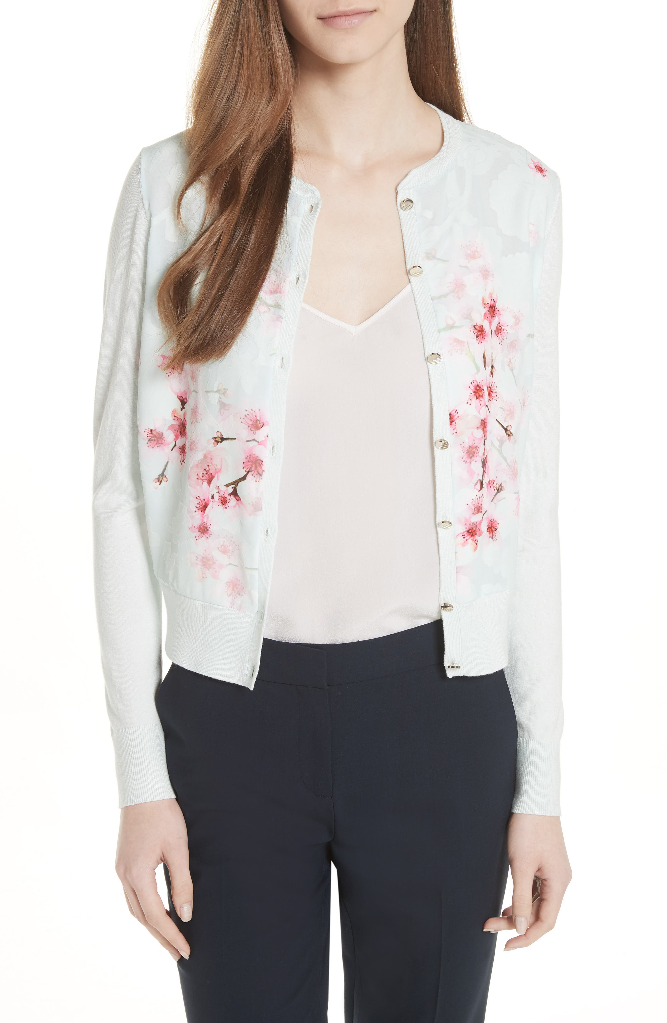 Blossom Woven Front Cardigan,                             Main thumbnail 1, color,                             Mint