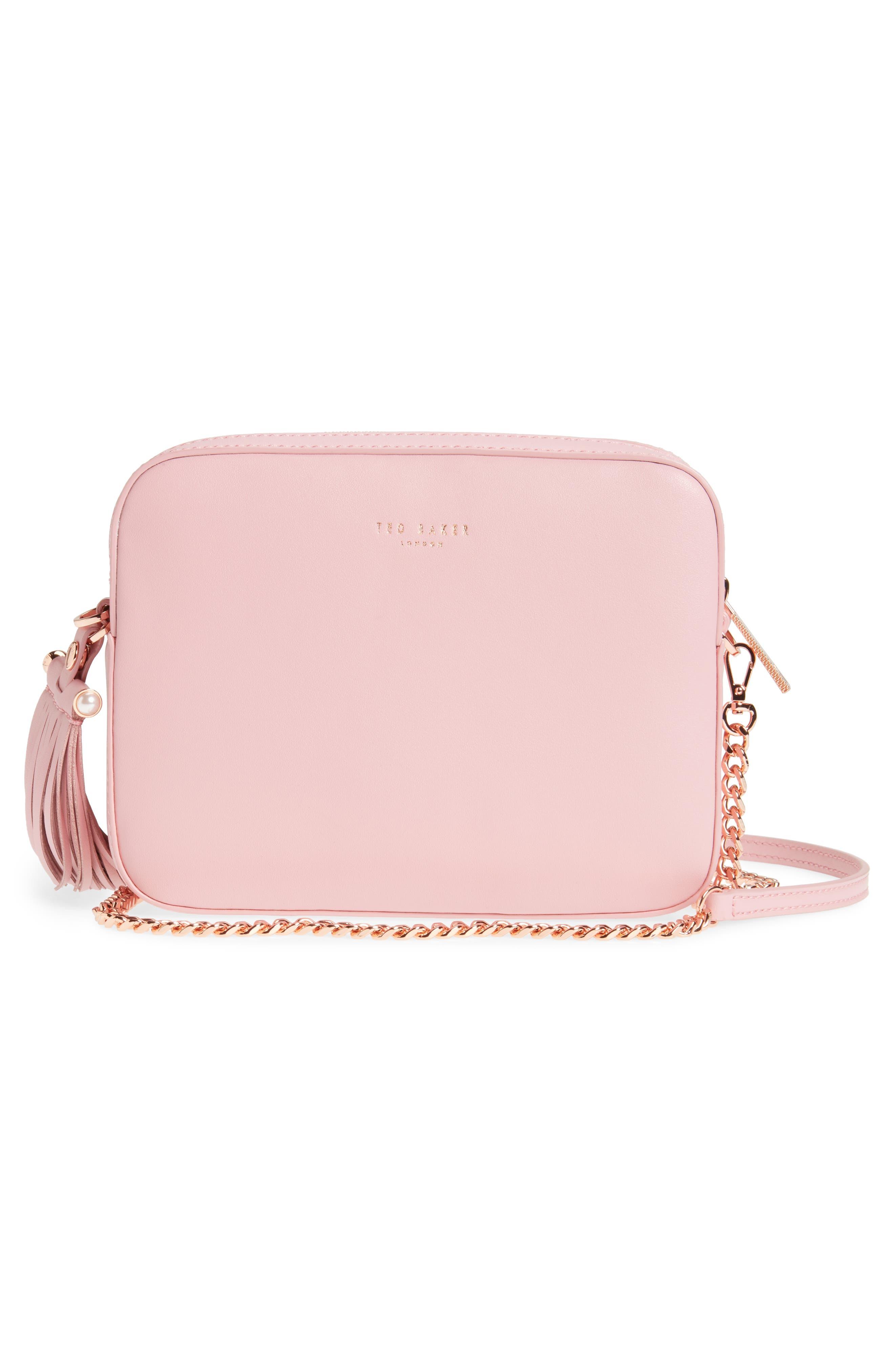 Alessia Imitation Pearl Embellished Leather Crossbody,                             Alternate thumbnail 3, color,                             Dusky Pink