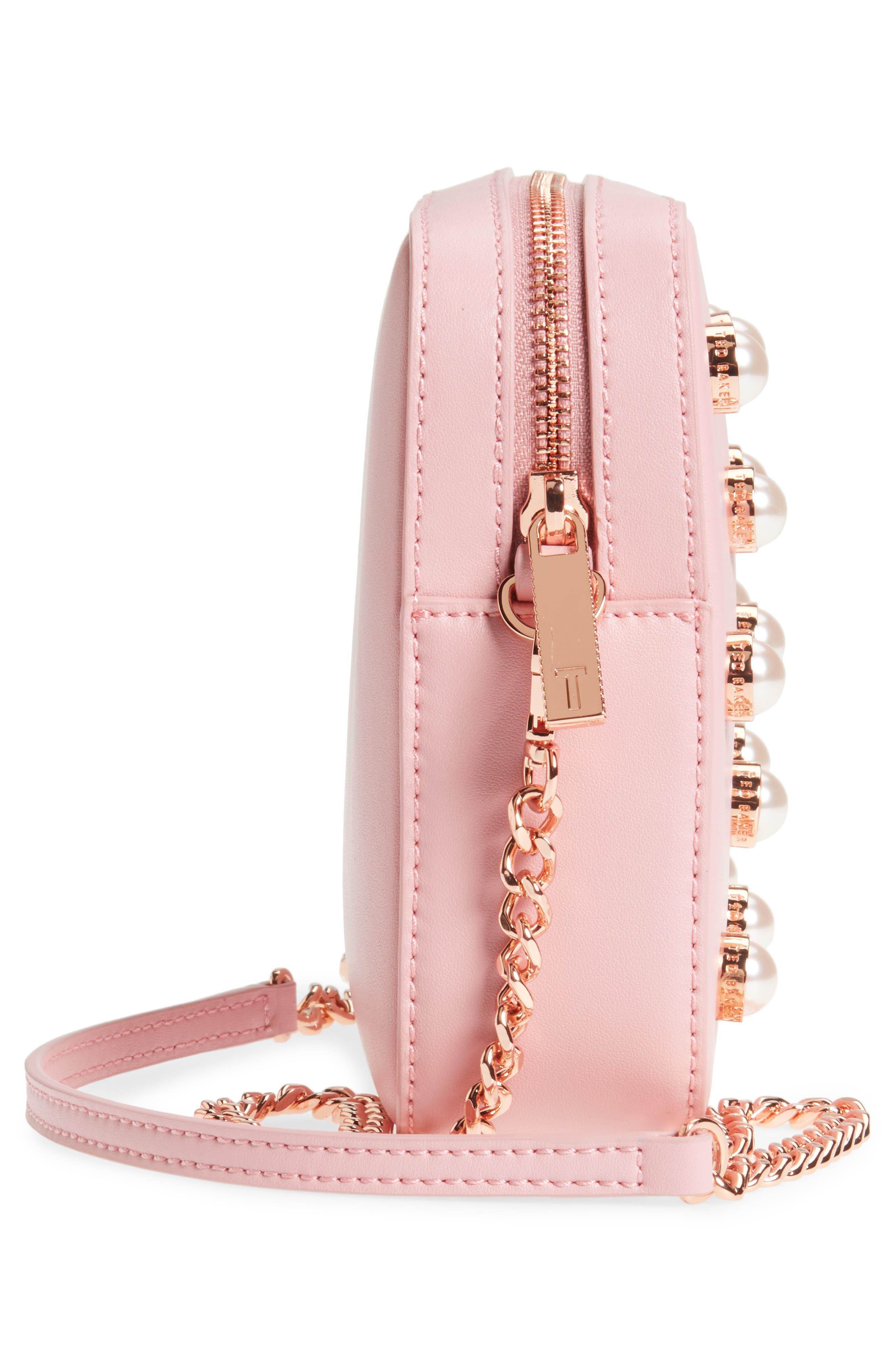 Alessia Imitation Pearl Embellished Leather Crossbody,                             Alternate thumbnail 5, color,                             Dusky Pink