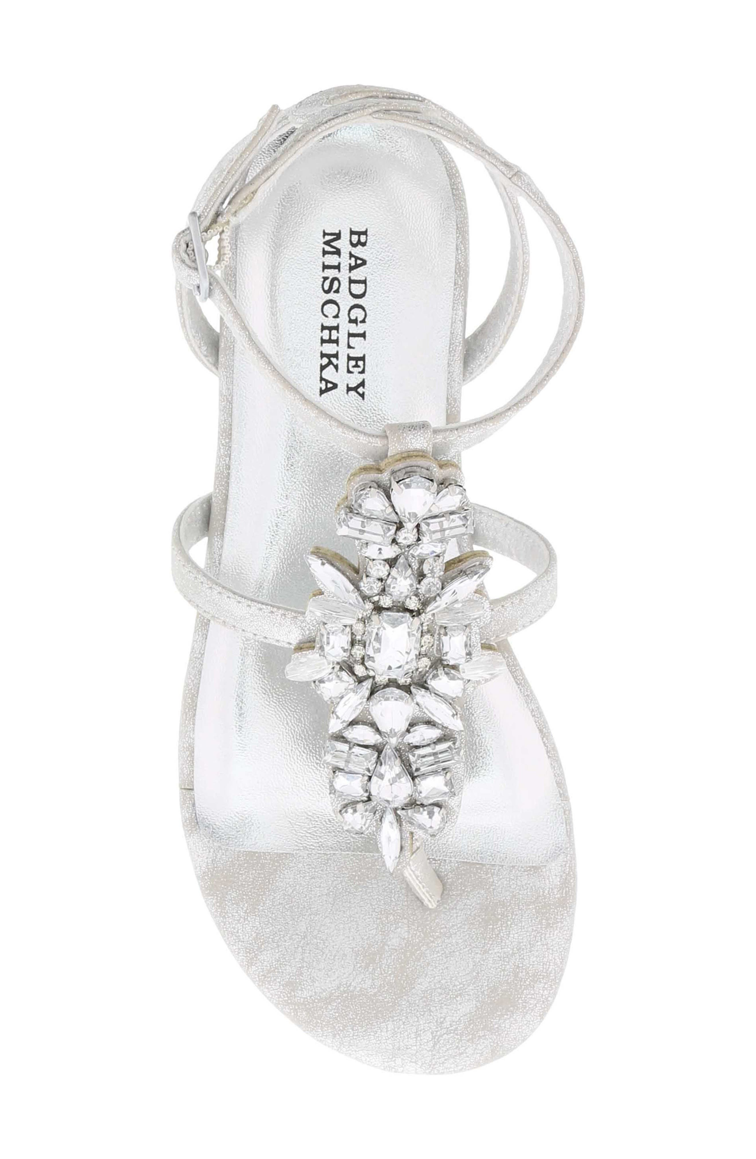 Cara Barstow Embellished Sandal,                             Alternate thumbnail 5, color,                             Light Silver