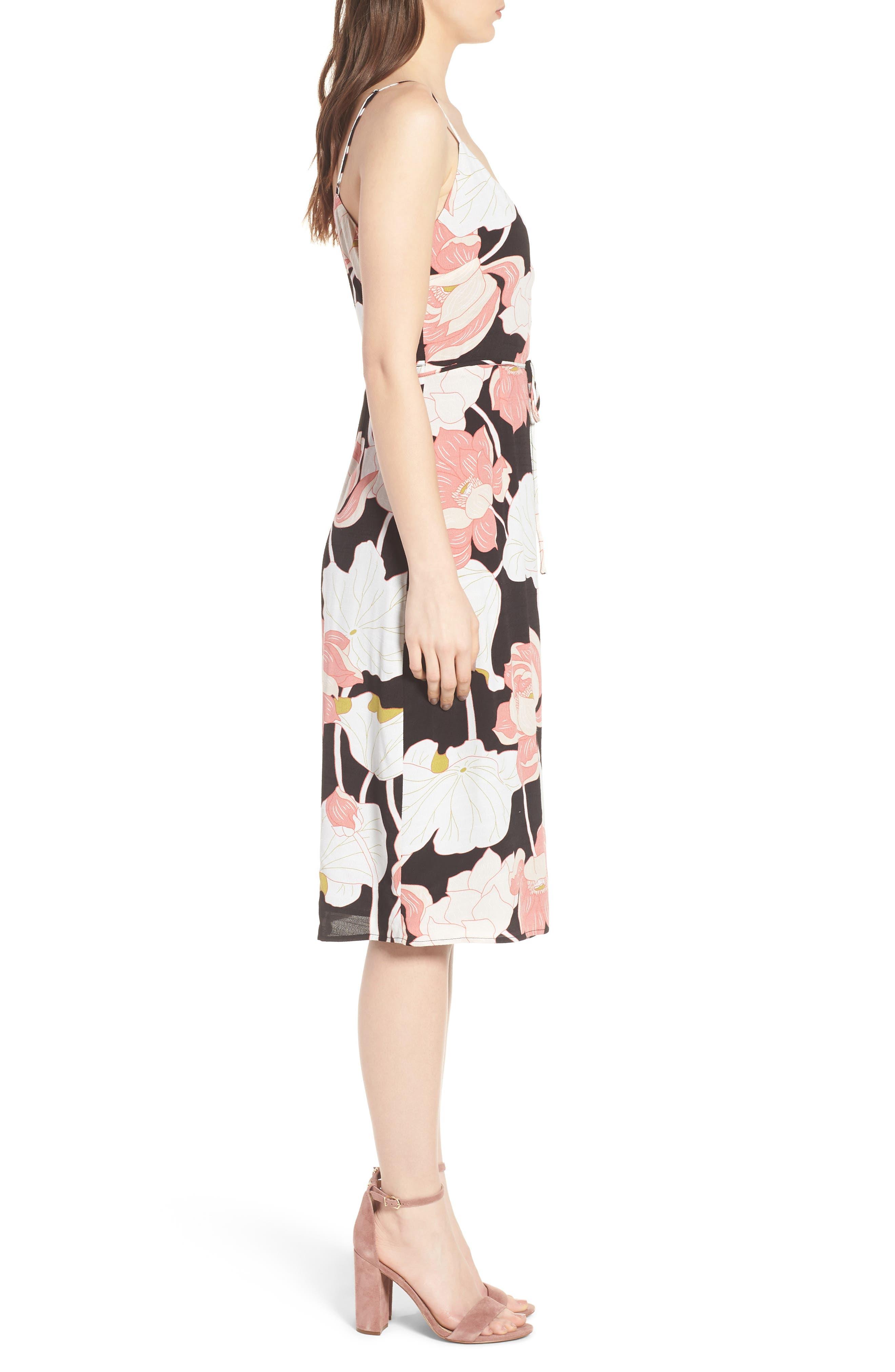 Chayene Water Lilies Wrap Dress,                             Alternate thumbnail 3, color,                             Black