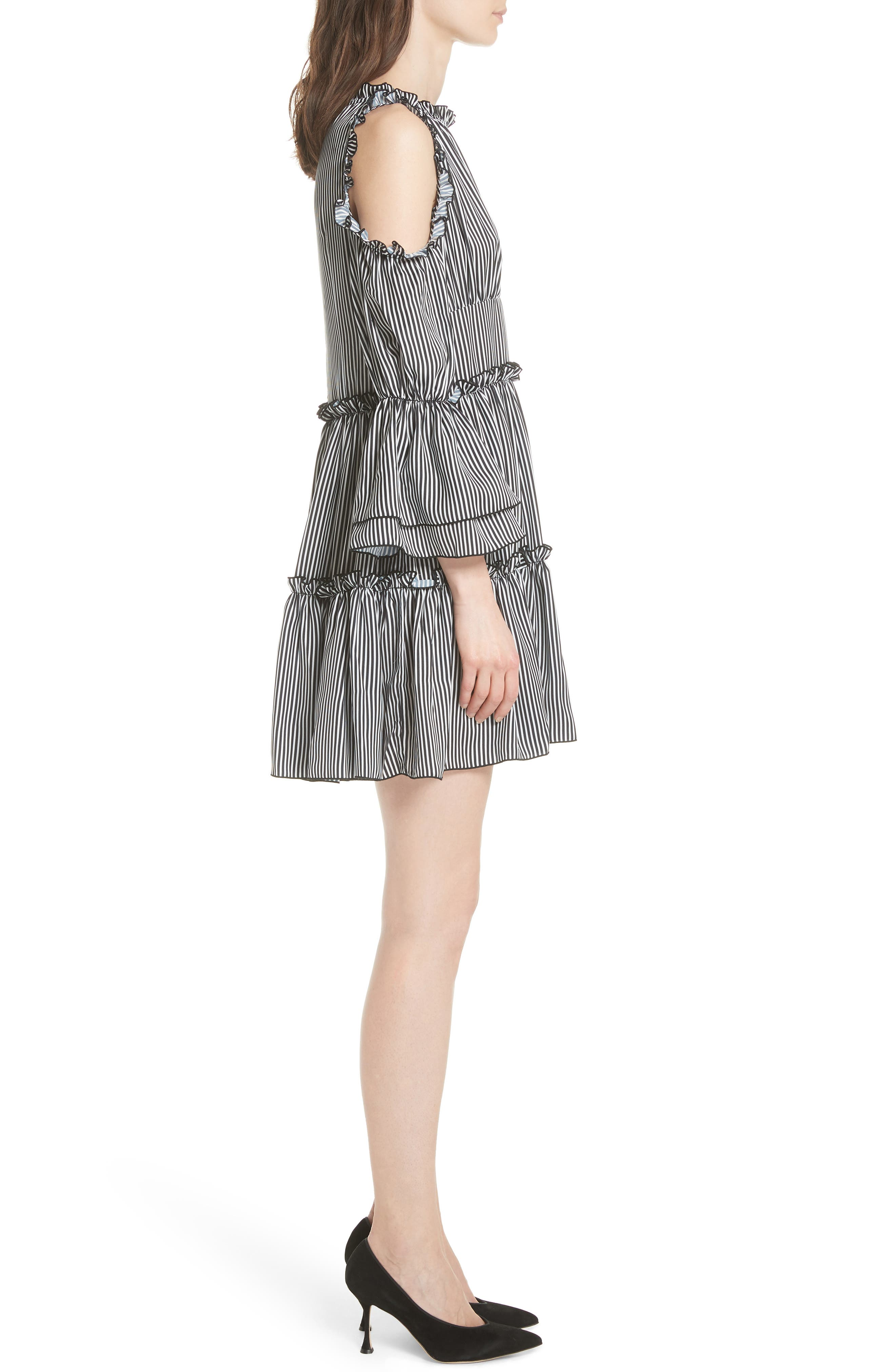 Radise Cold Shoulder Ruffled Minidress,                             Alternate thumbnail 3, color,                             Stripe