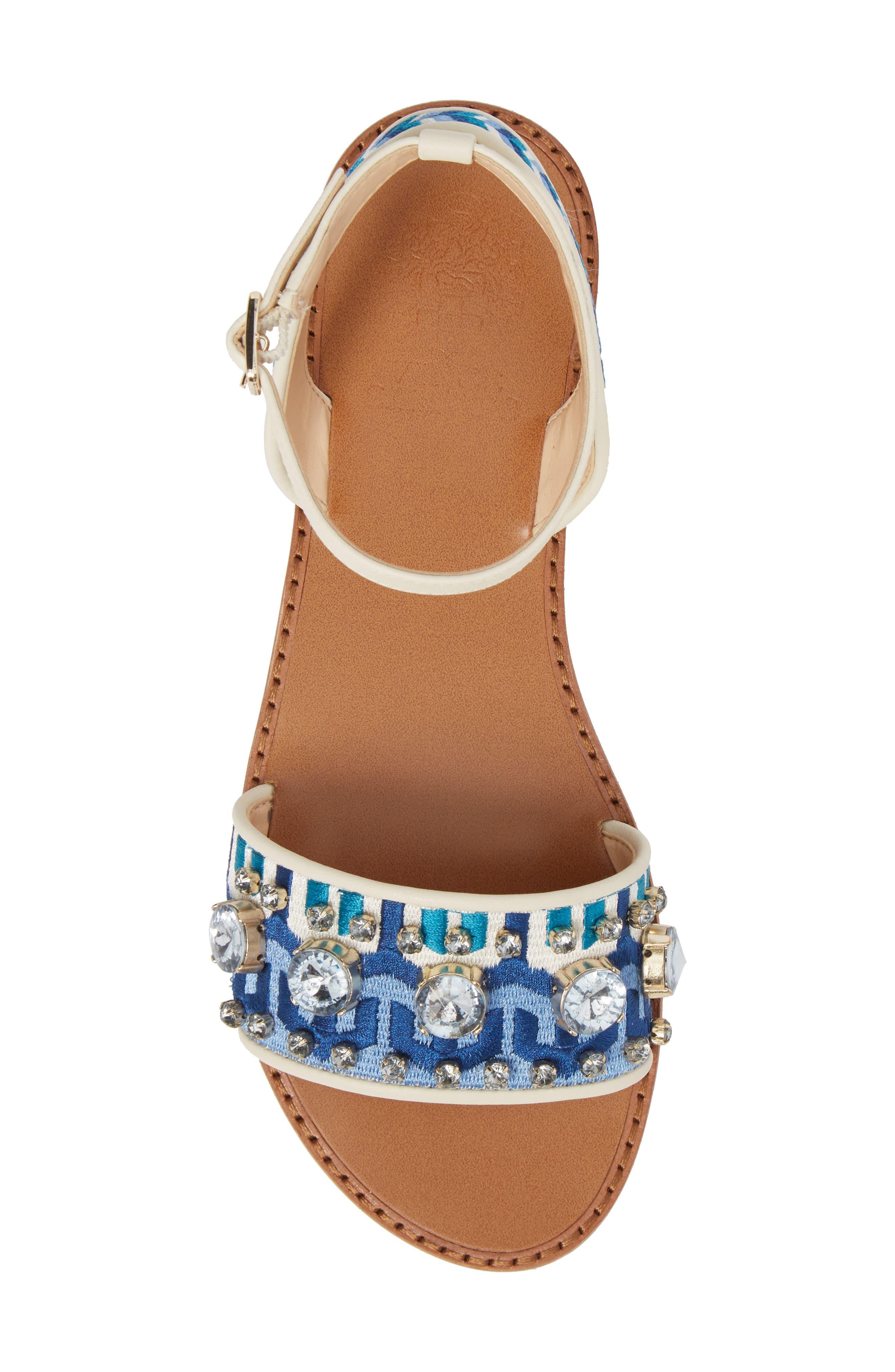 Akitta Sandal,                             Alternate thumbnail 5, color,                             Blue Multi/ Vanilla Fabric