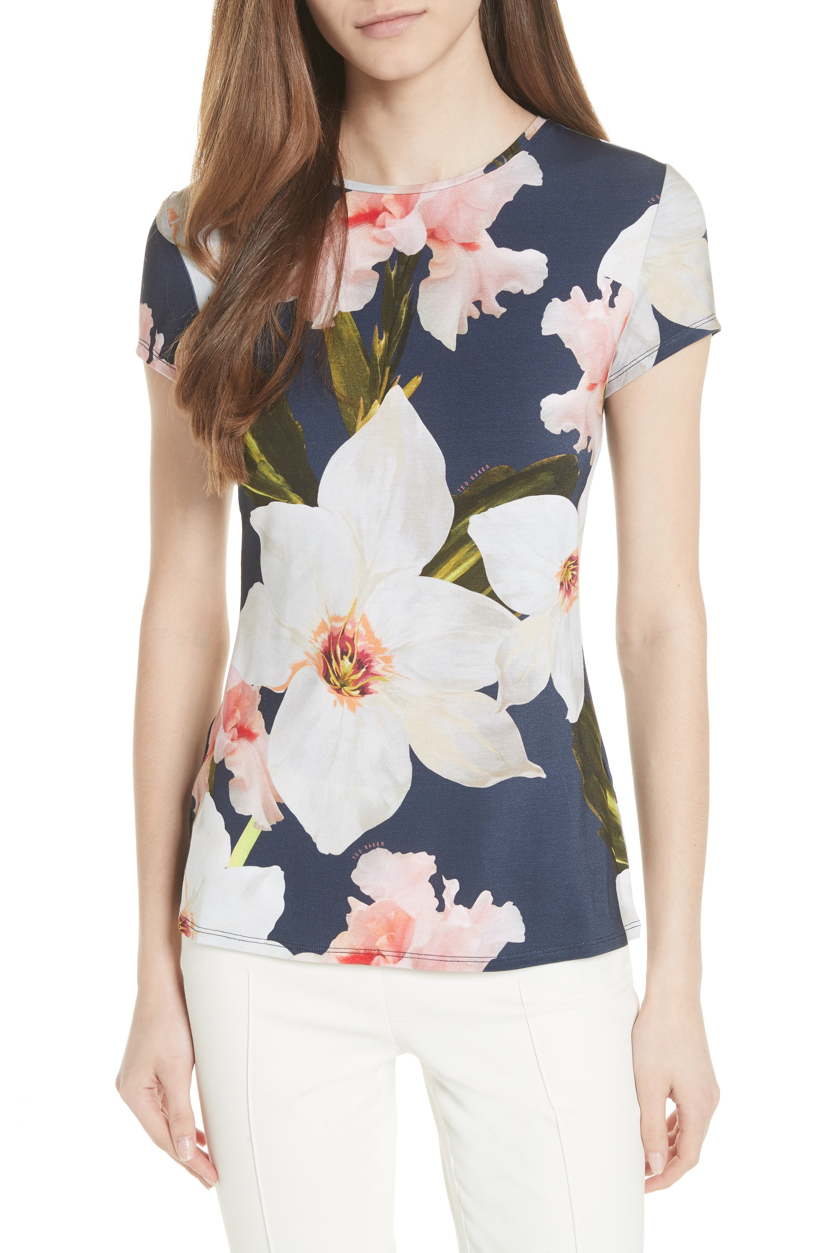 Chatsworth Bloom Fitted Tee,                         Main,                         color, Navy