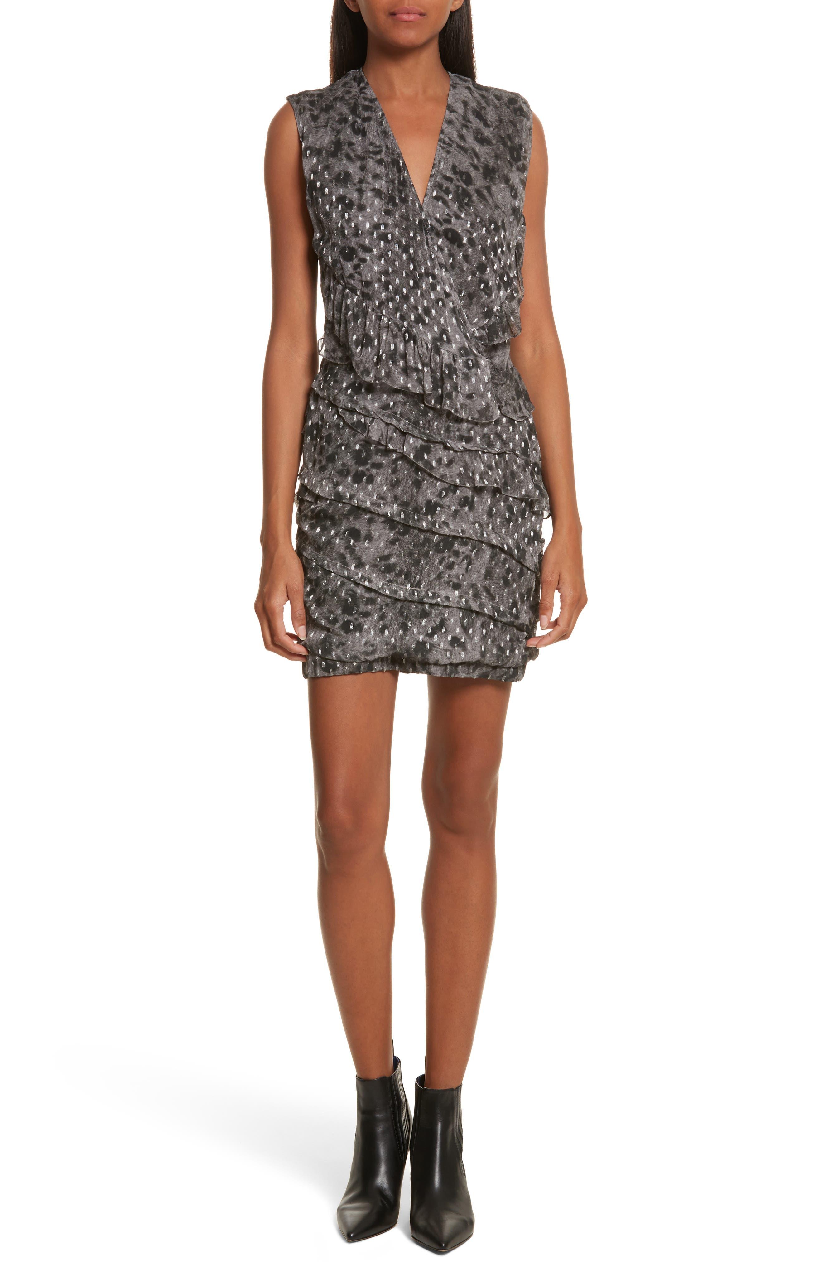 Corie Metallic Fil Coupé Dress,                             Main thumbnail 1, color,                             Charcoal