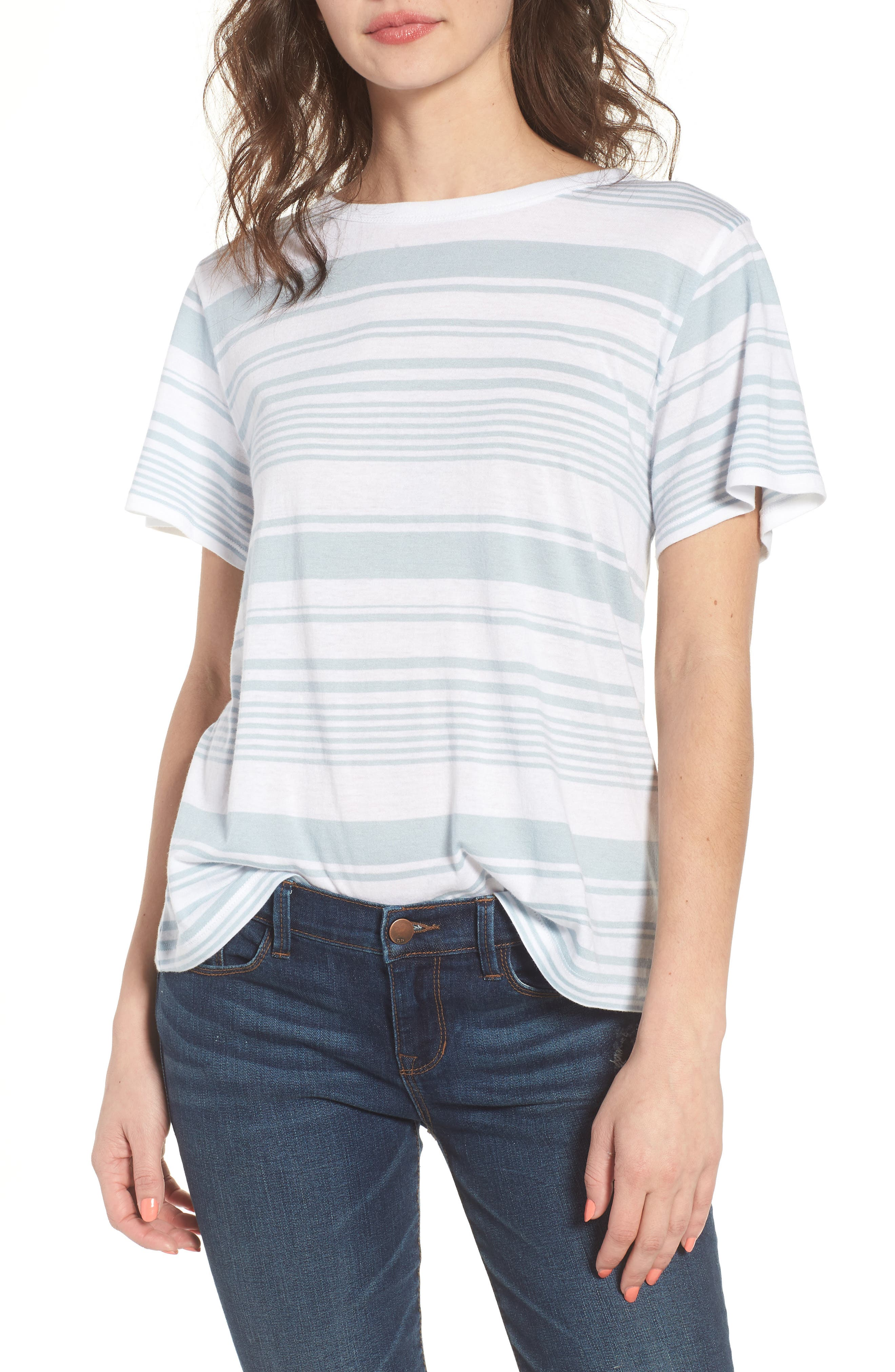 Twist Back Tee,                         Main,                         color, Blue Celestial Monaco Stripe