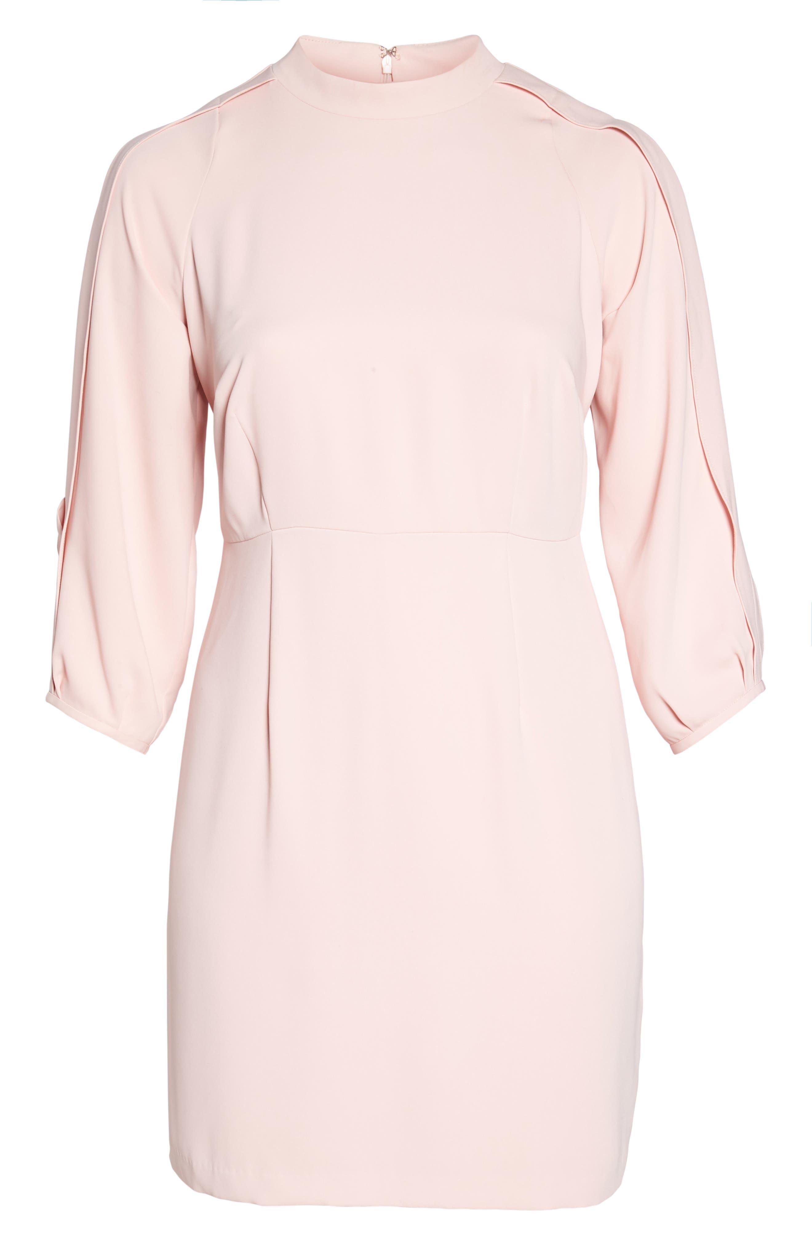 Mock Neck Split Sleeve Dress,                             Alternate thumbnail 6, color,                             Pink Primrose
