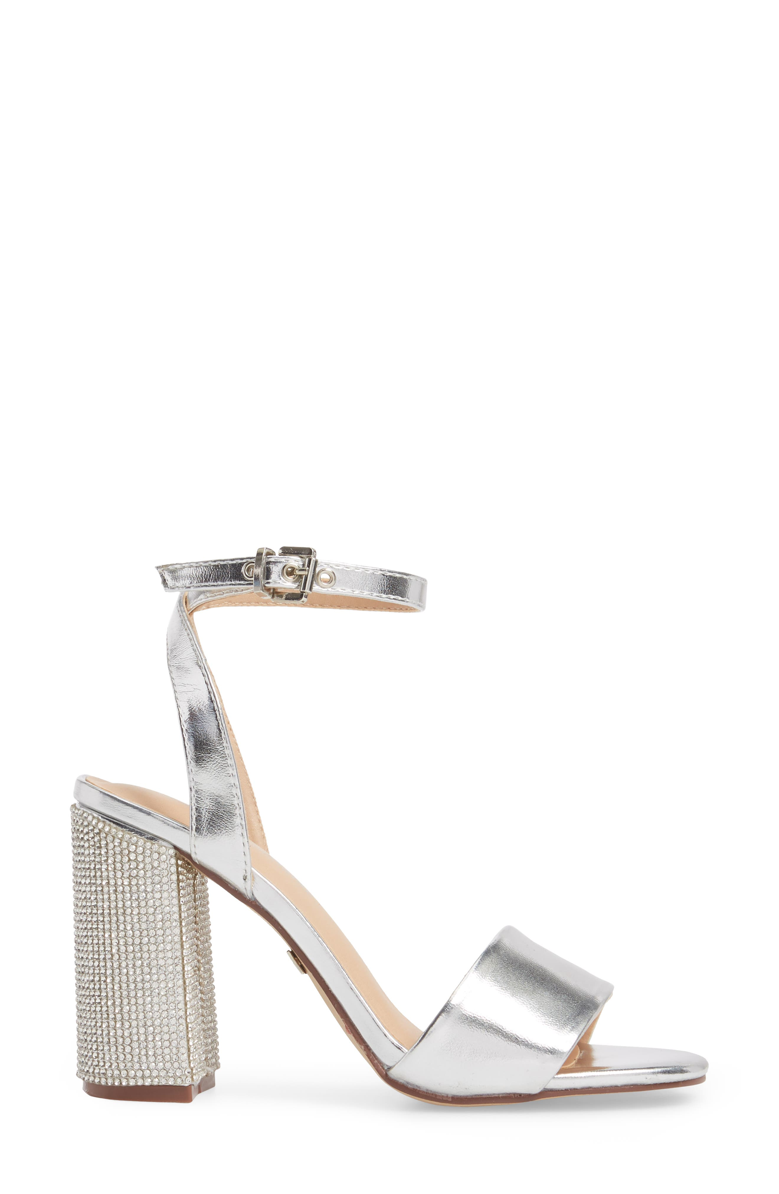 Julia Sandal,                             Alternate thumbnail 3, color,                             Silver Faux Leather