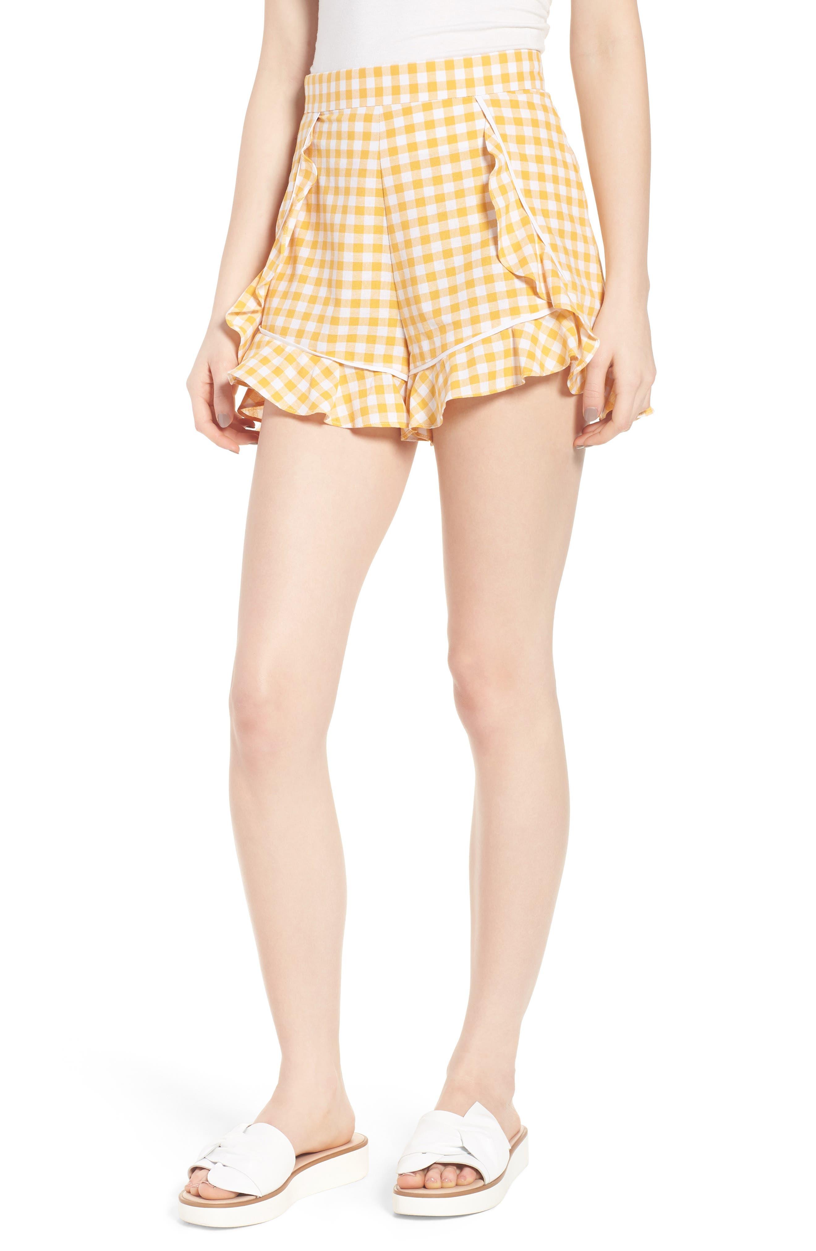 Idyllic Gingham Ruffle Shorts,                         Main,                         color, Buttercup