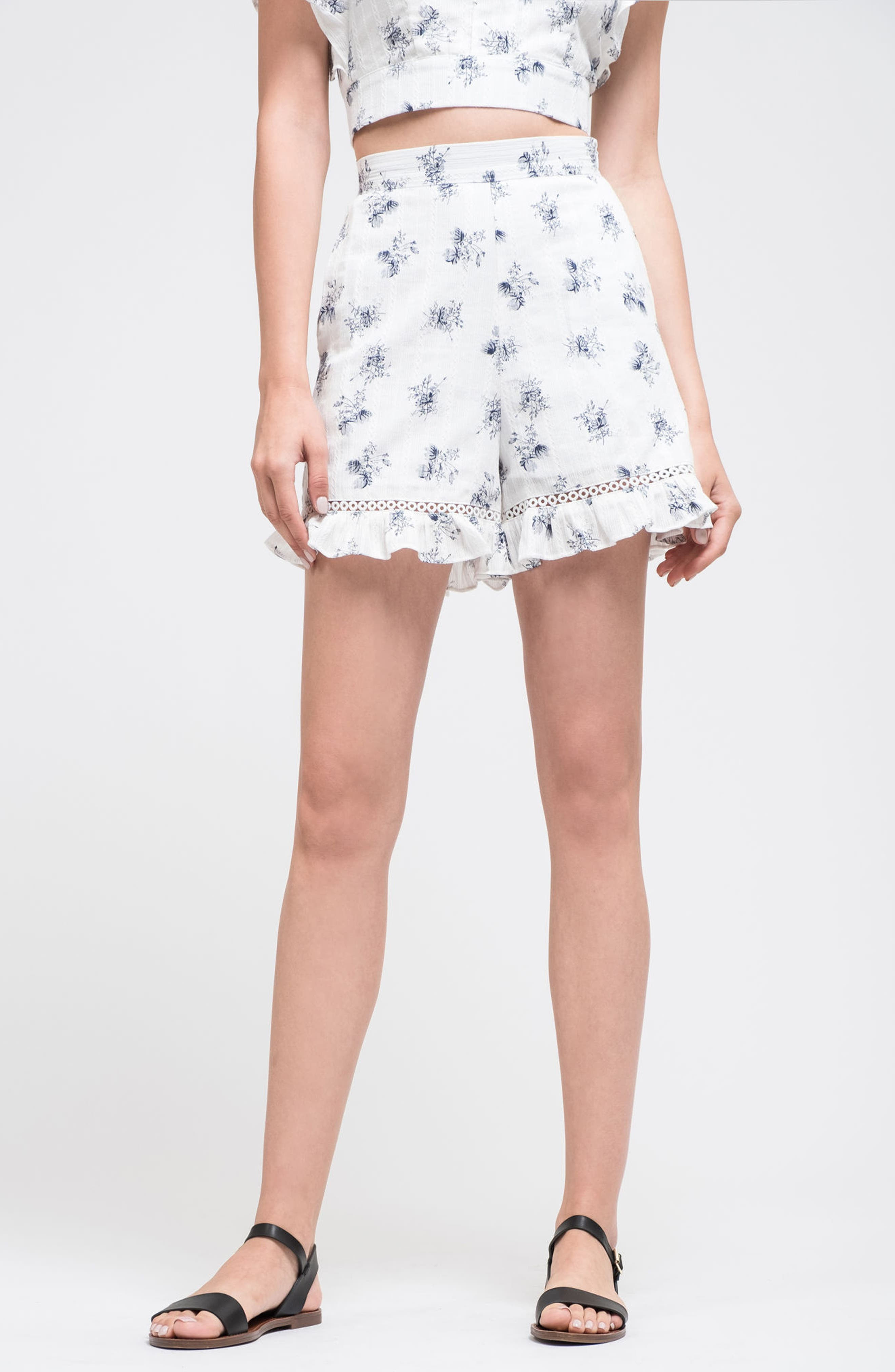 Ruffle Shorts,                             Alternate thumbnail 2, color,                             White/ Navy