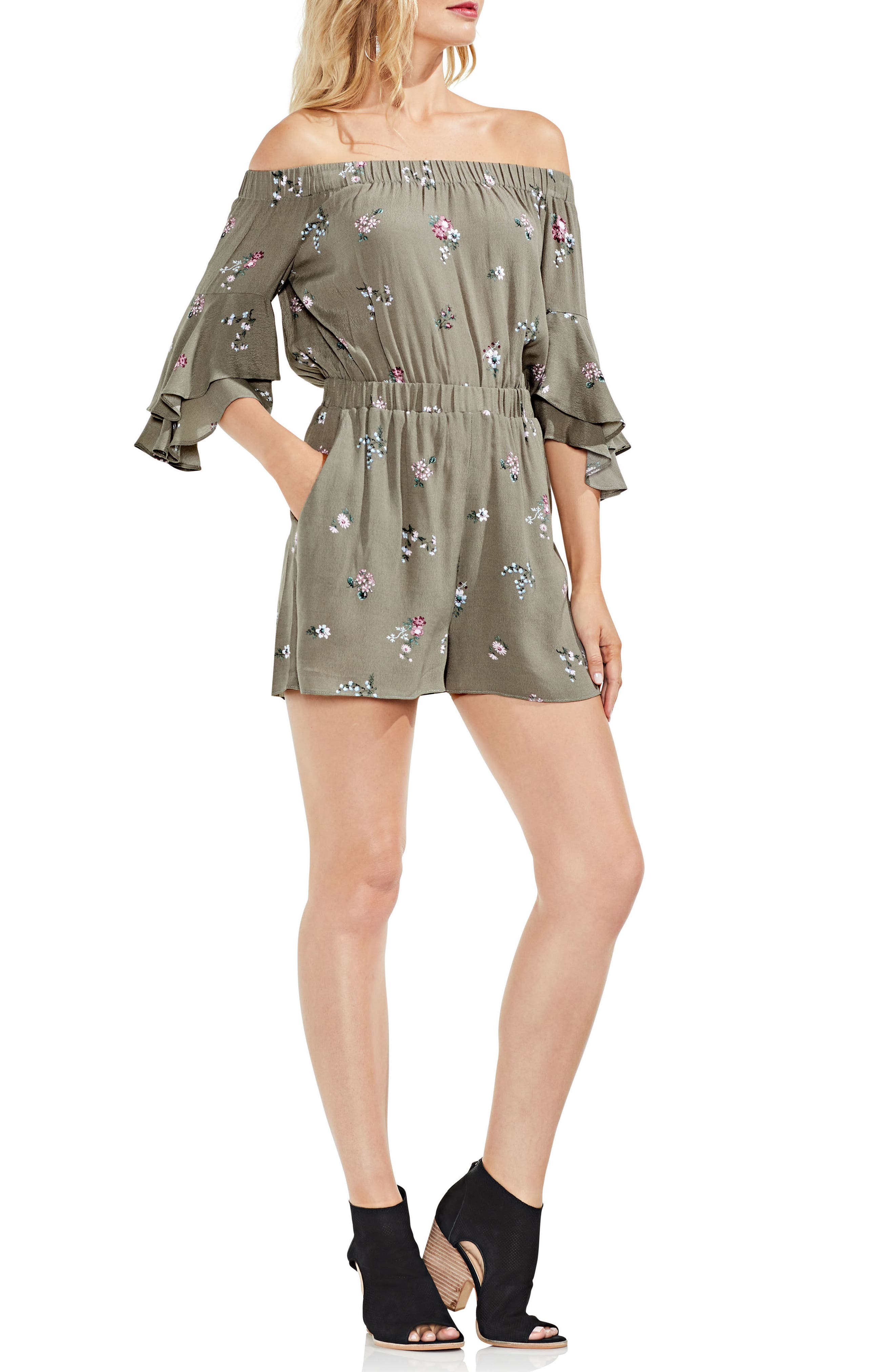 Off the Shoulder Ruffle Sleeve Floral Romper,                             Alternate thumbnail 3, color,                             Camo Green