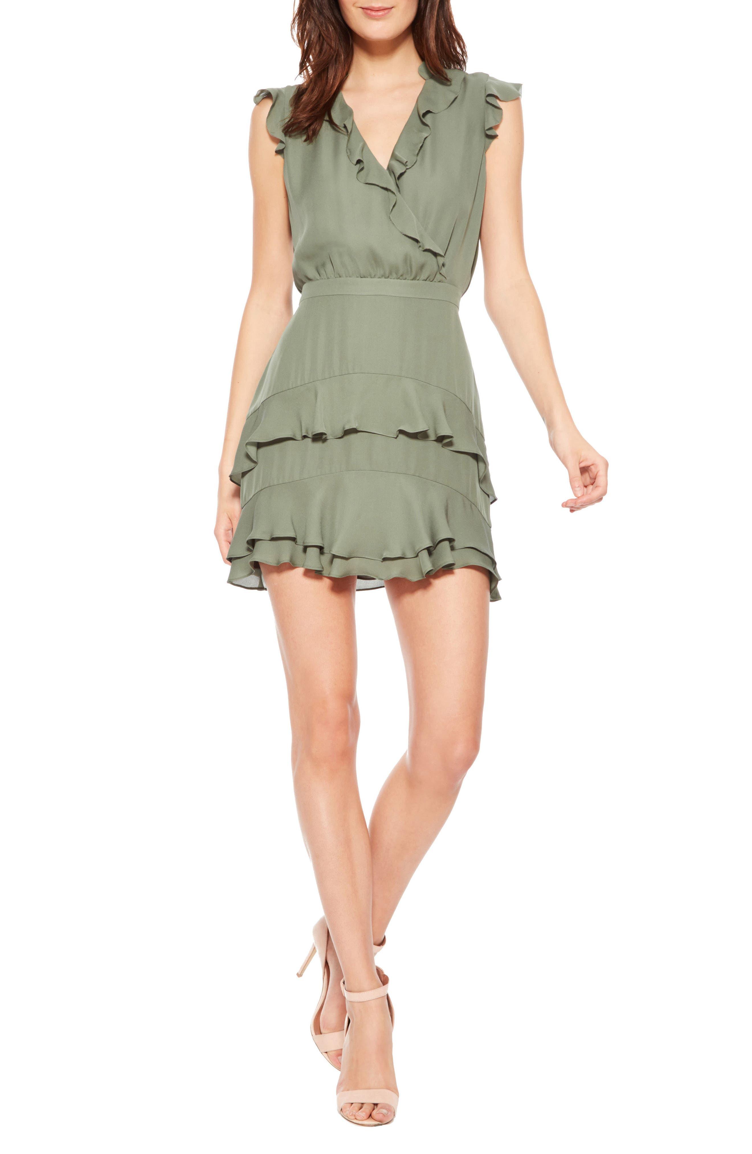 Tangia Silk Dress,                         Main,                         color, Greenbriar