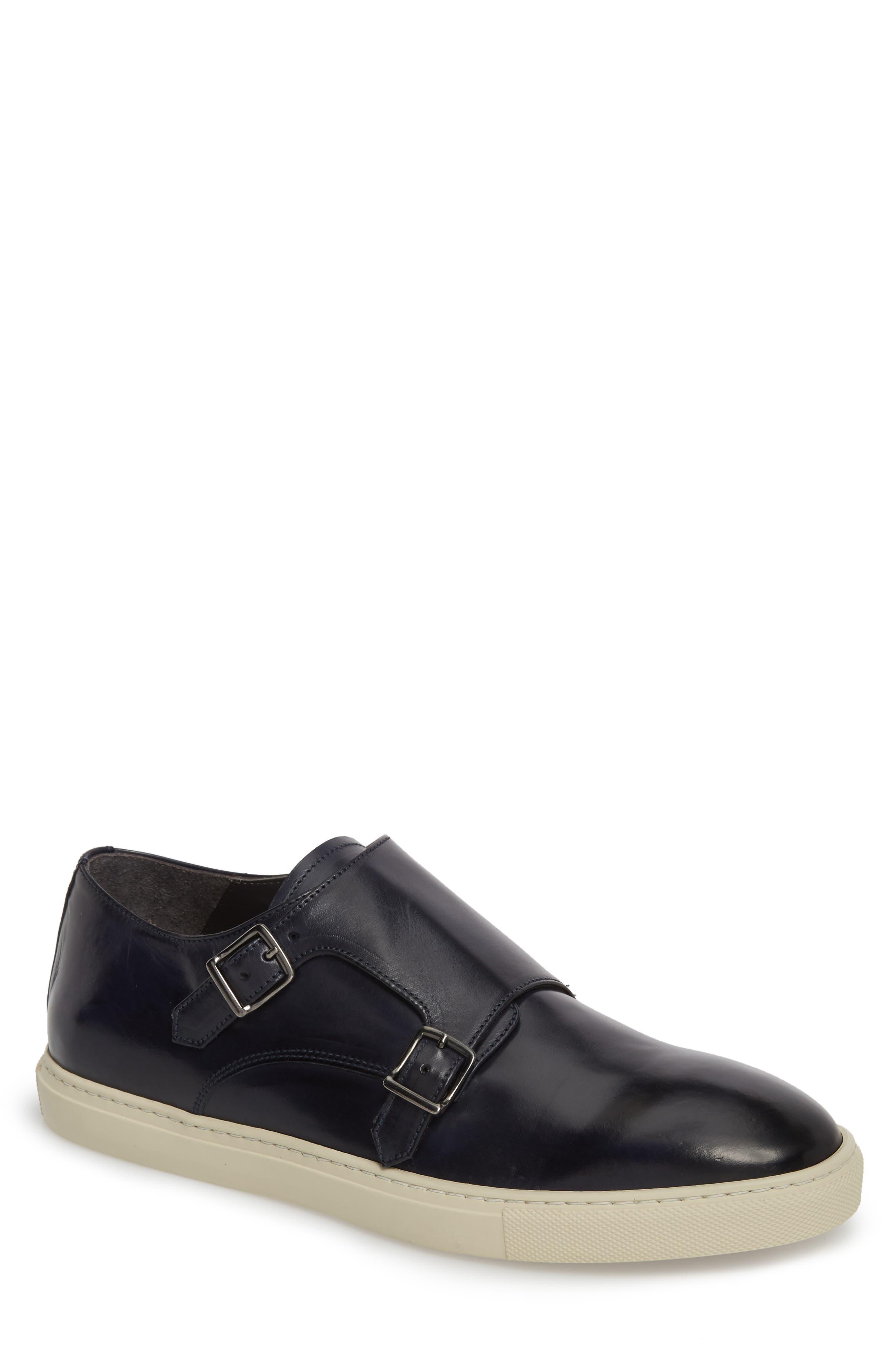 Gildden Double Monk Strap Sneaker,                             Main thumbnail 1, color,                             Diver Blue Marine Leather