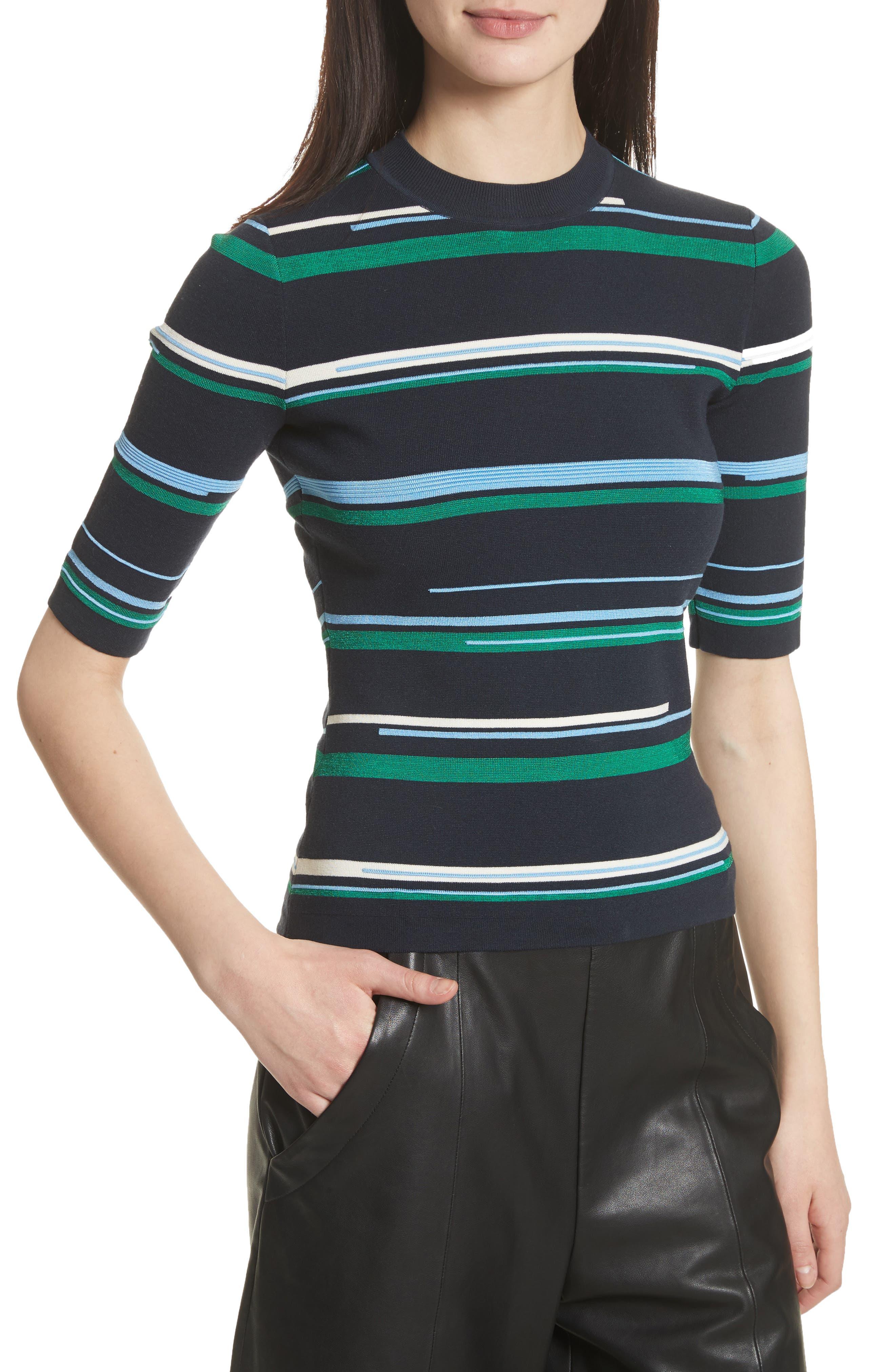 Stripe Knit Top,                             Alternate thumbnail 4, color,                             Midnight Multi