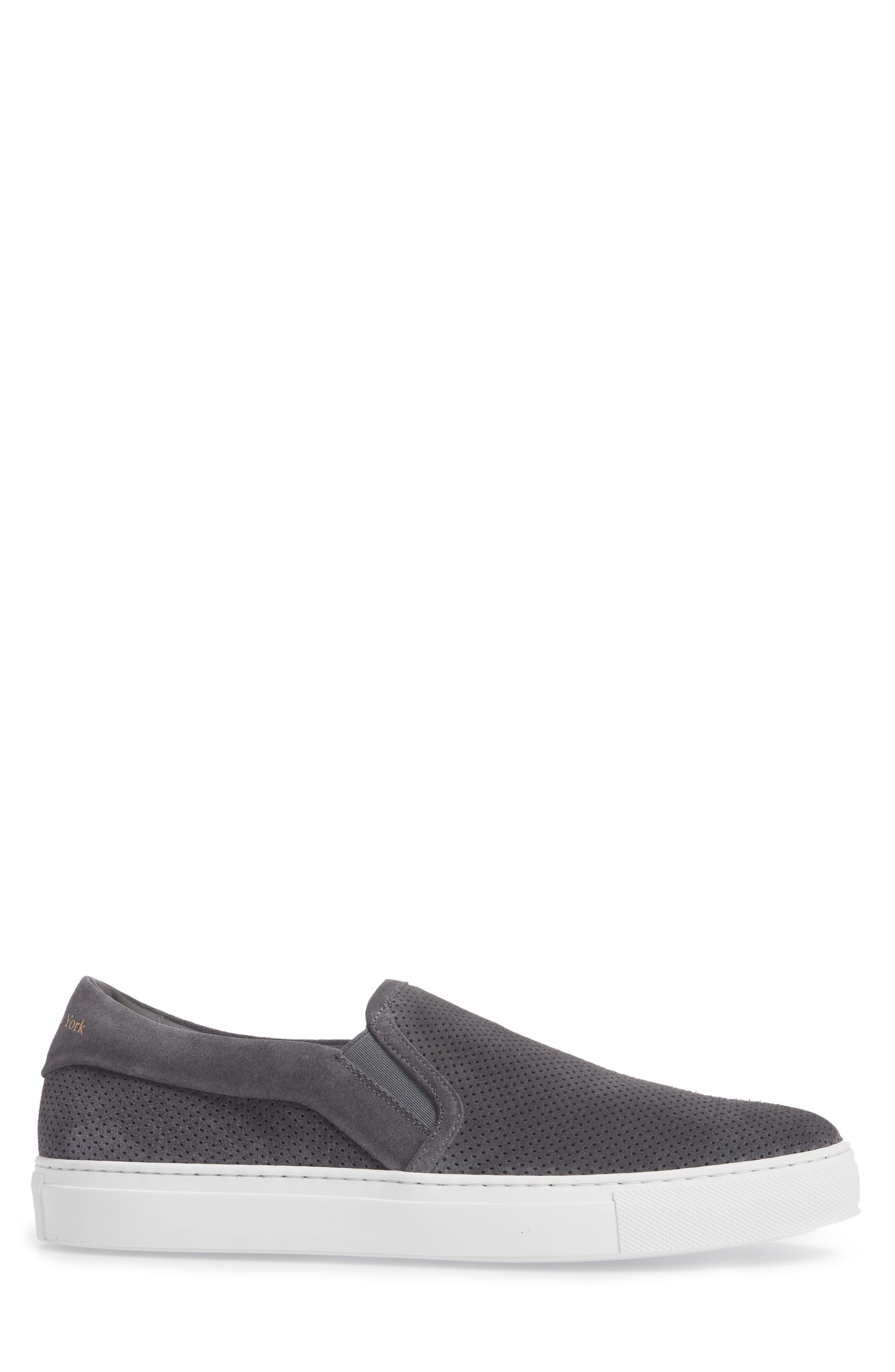 Buelton Perforated Slip-On Sneaker,                             Alternate thumbnail 3, color,                             Avion/ Tan Suede
