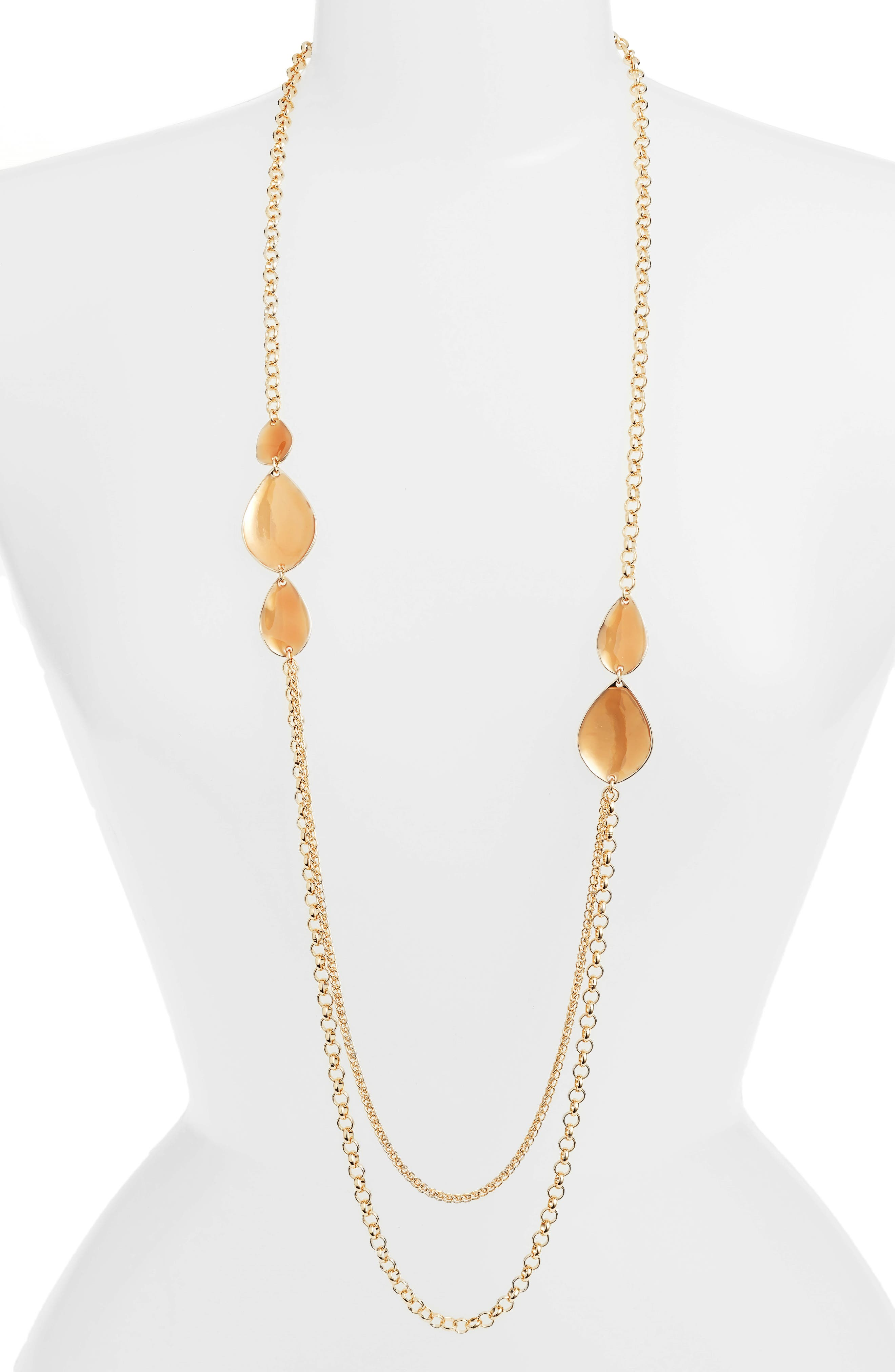 Painted Petal Draped Long Necklace,                         Main,                         color, Blush- Gold