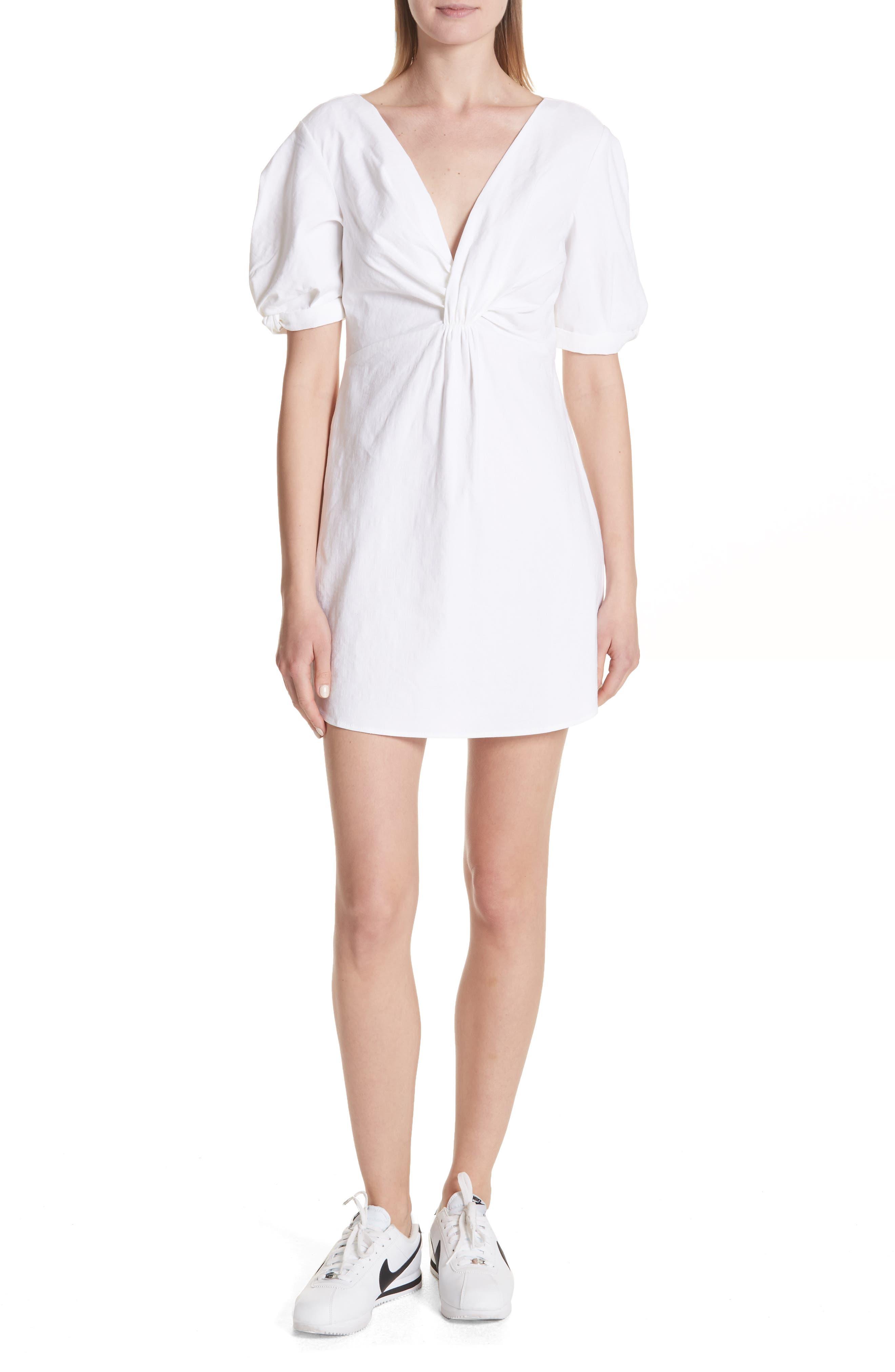 Mirren Twist Front Linen Blend Dress,                             Main thumbnail 1, color,                             Gesso