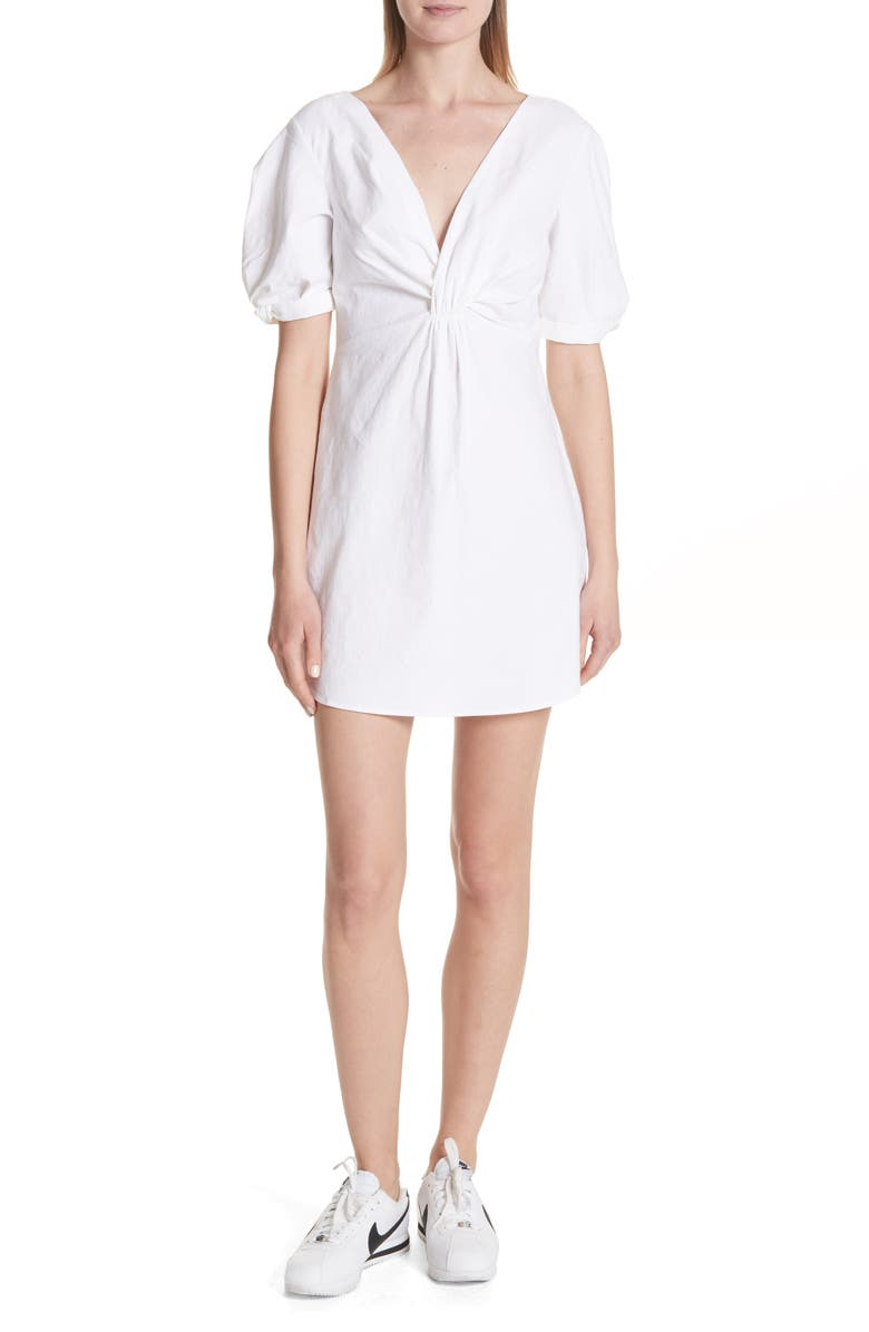 Mirren Twist Front Linen Blend Dress