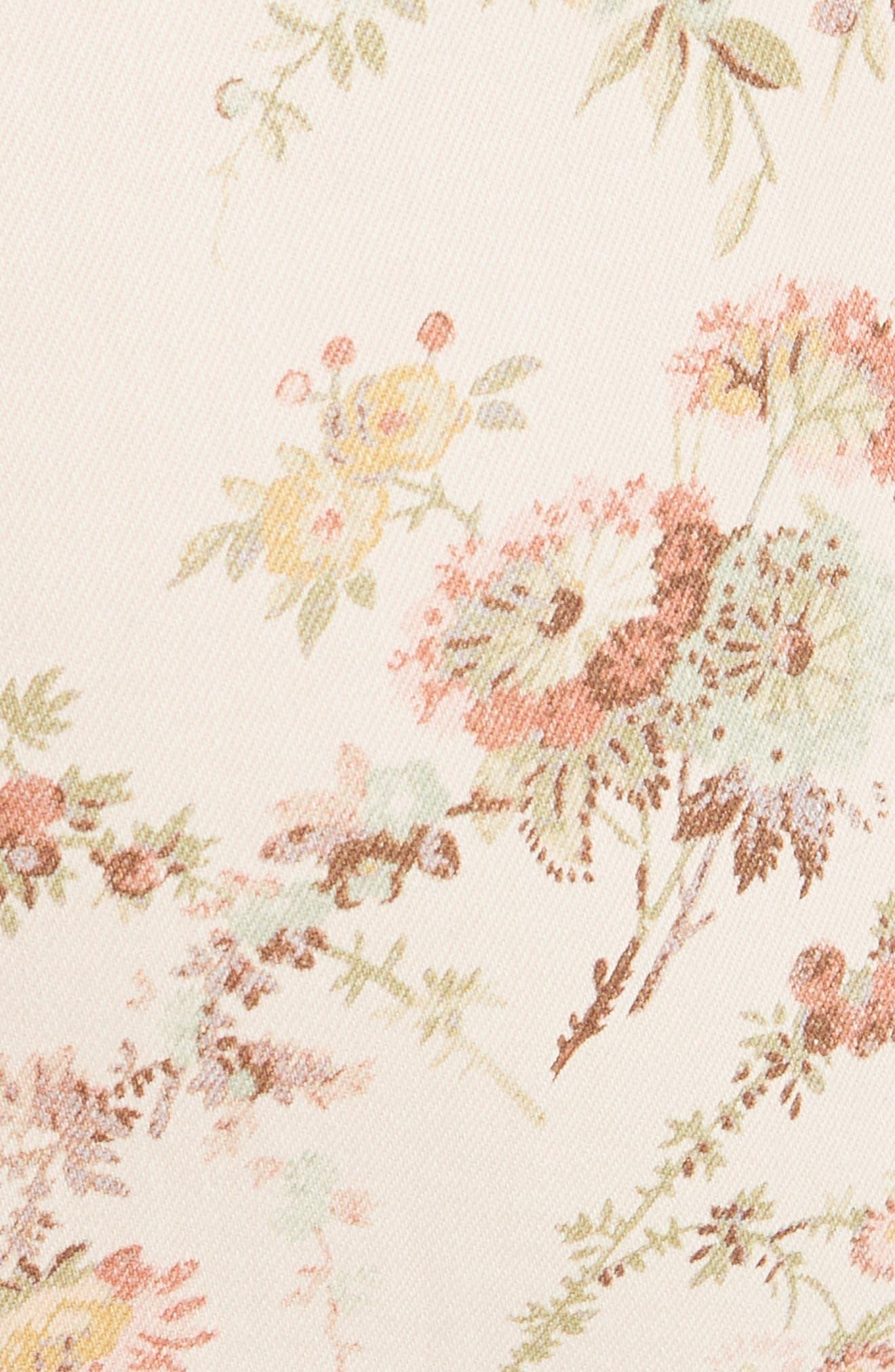 Floral Off the Shoulder Denim Dress,                             Alternate thumbnail 5, color,                             Frappe Combo