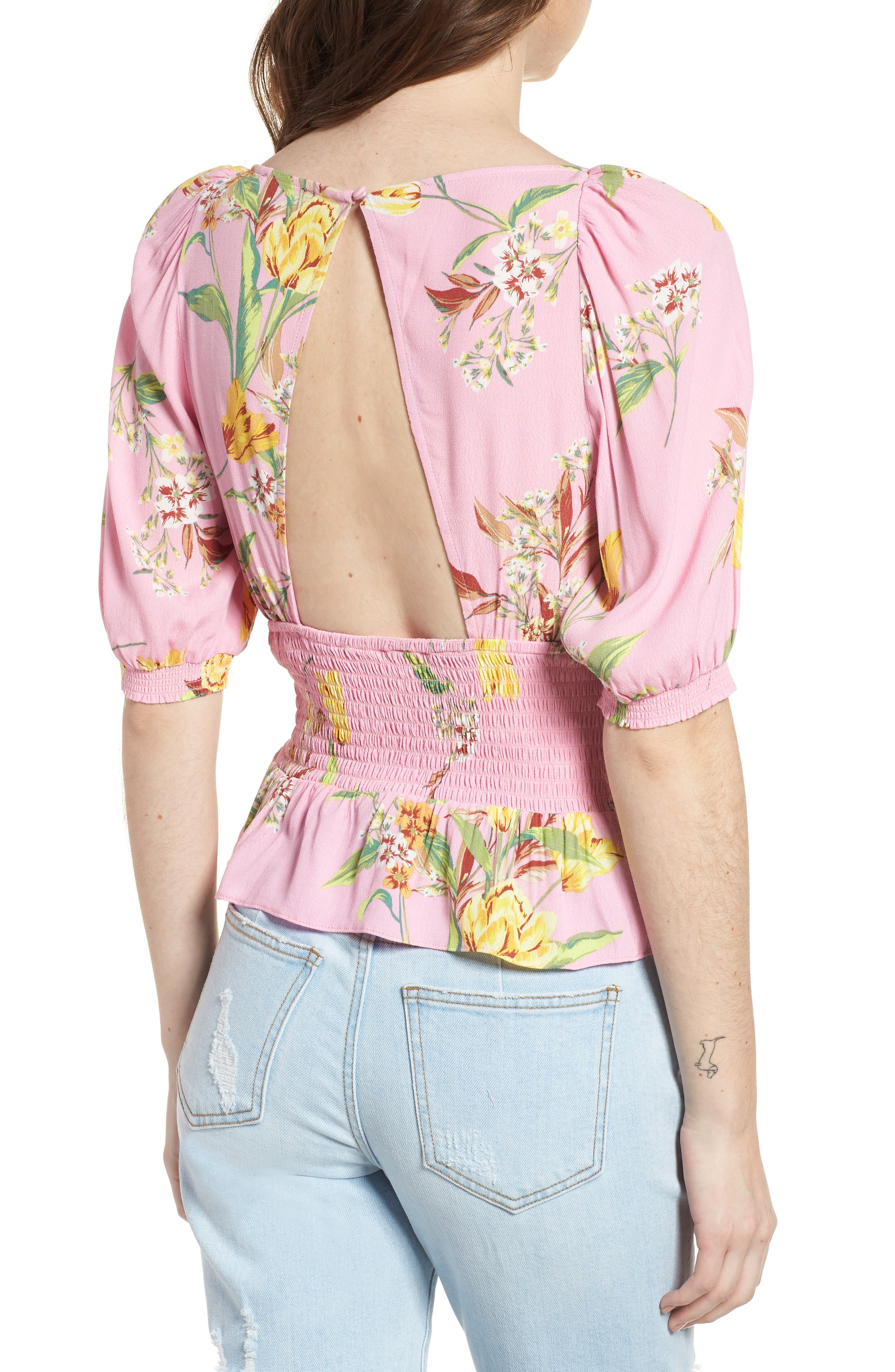 Axel Smocked Top,                             Alternate thumbnail 2, color,                             Pink Tulip
