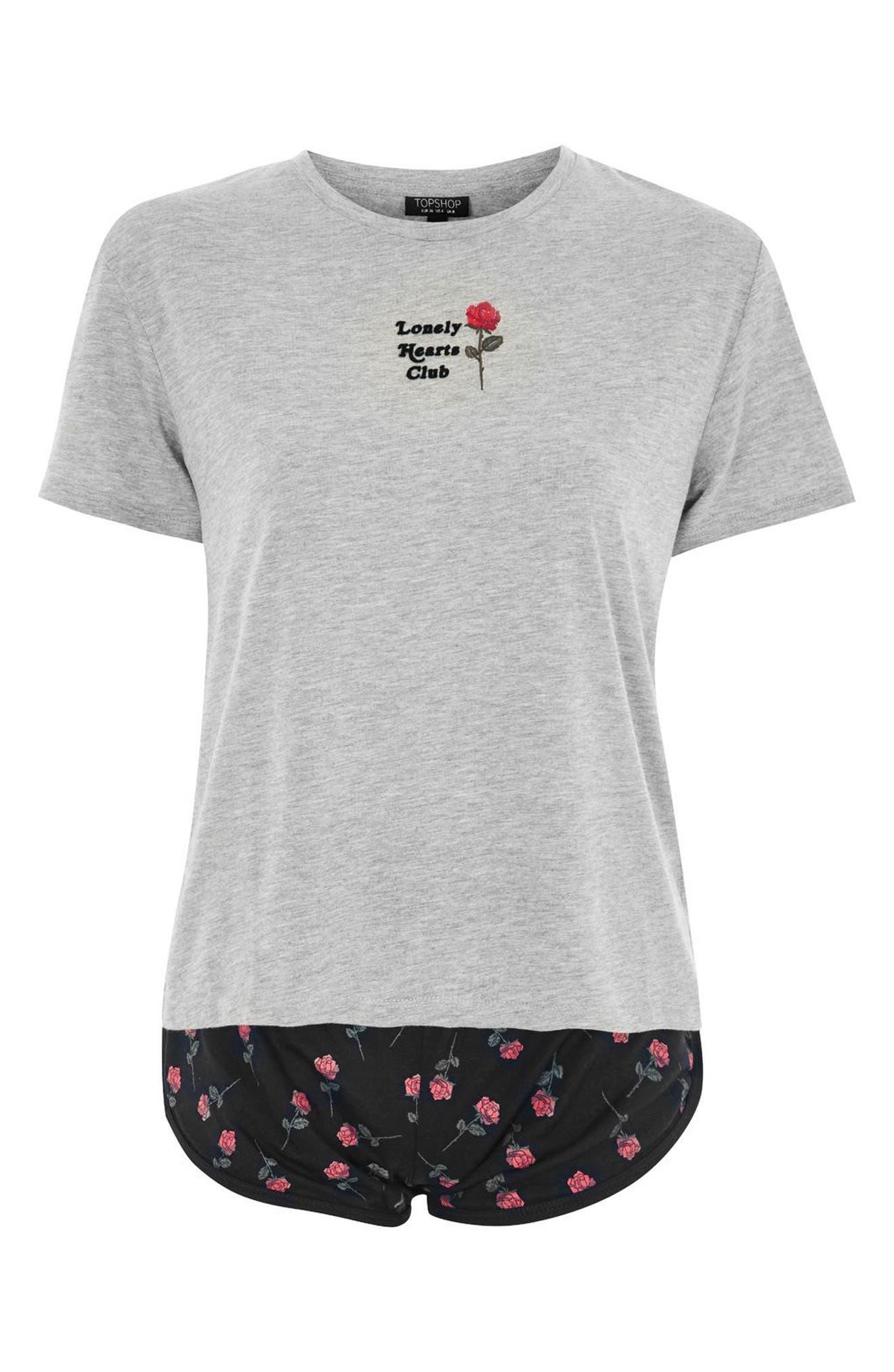 Lonely Hearts Club Short Pajamas,                             Alternate thumbnail 3, color,                             Grey