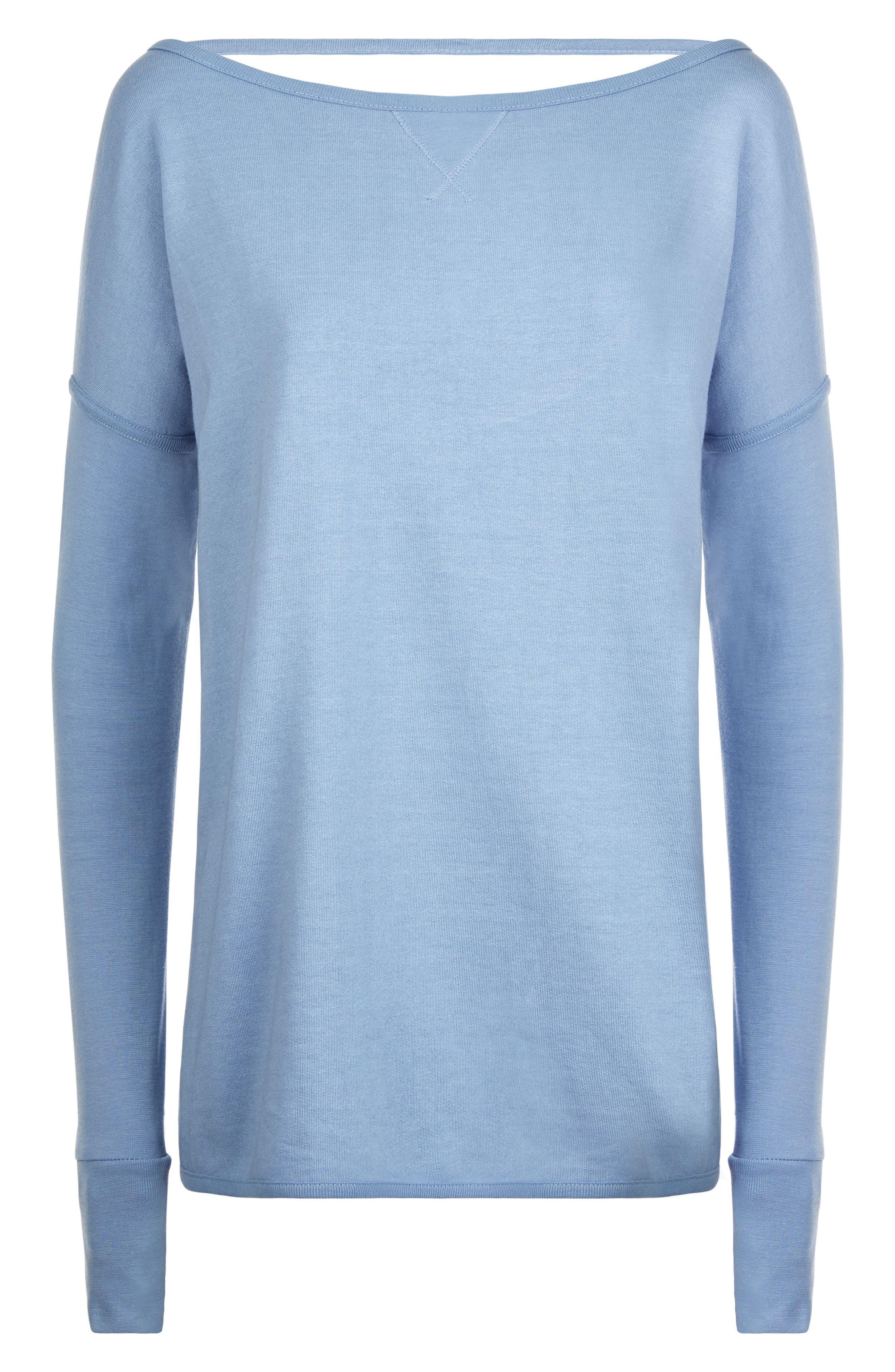 Simhasana Sport Sweatshirt,                             Alternate thumbnail 6, color,                             Faded Denim
