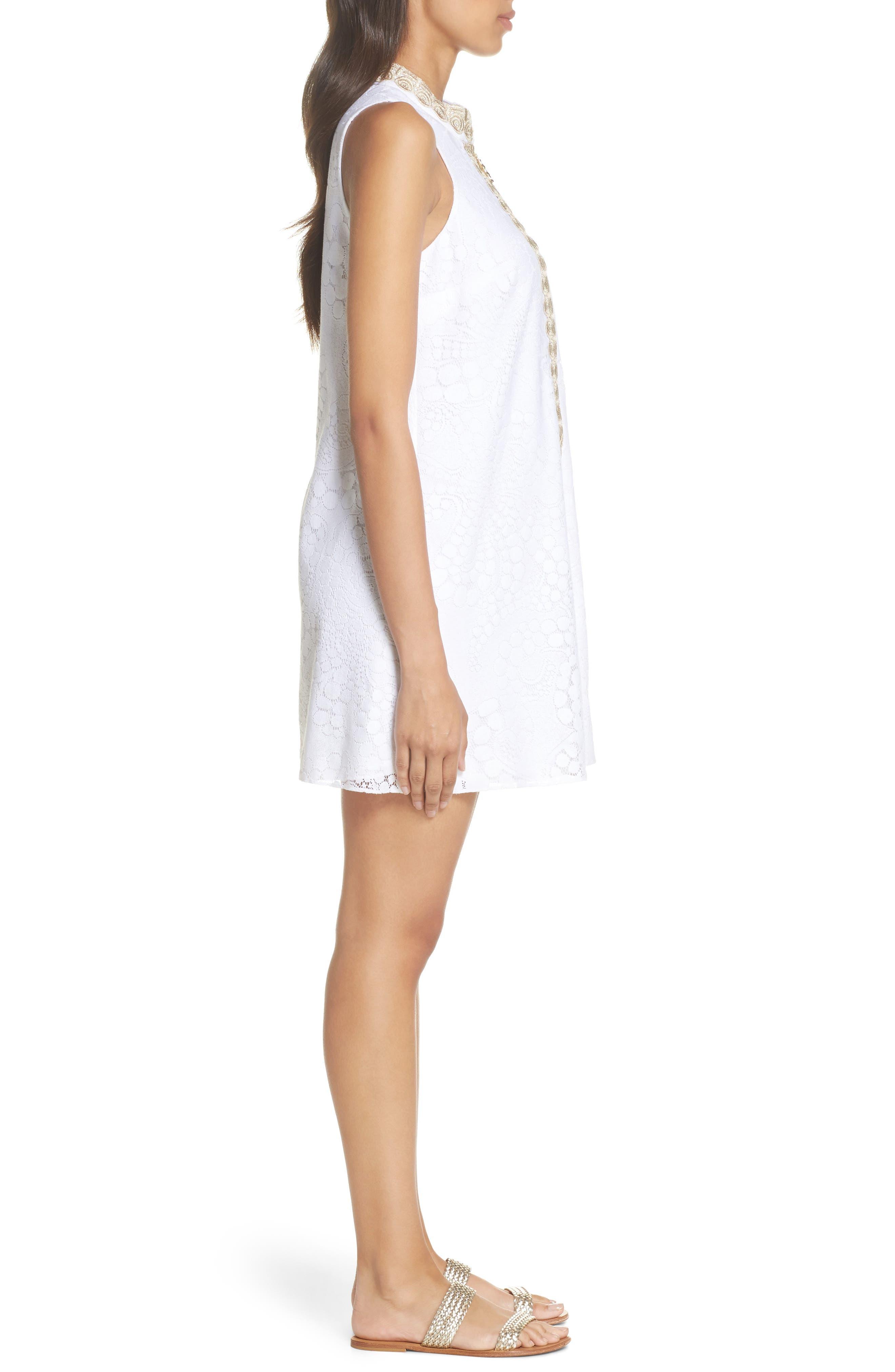 Jane Lace Shift Dress,                             Alternate thumbnail 3, color,                             Resort White Mocean Lace