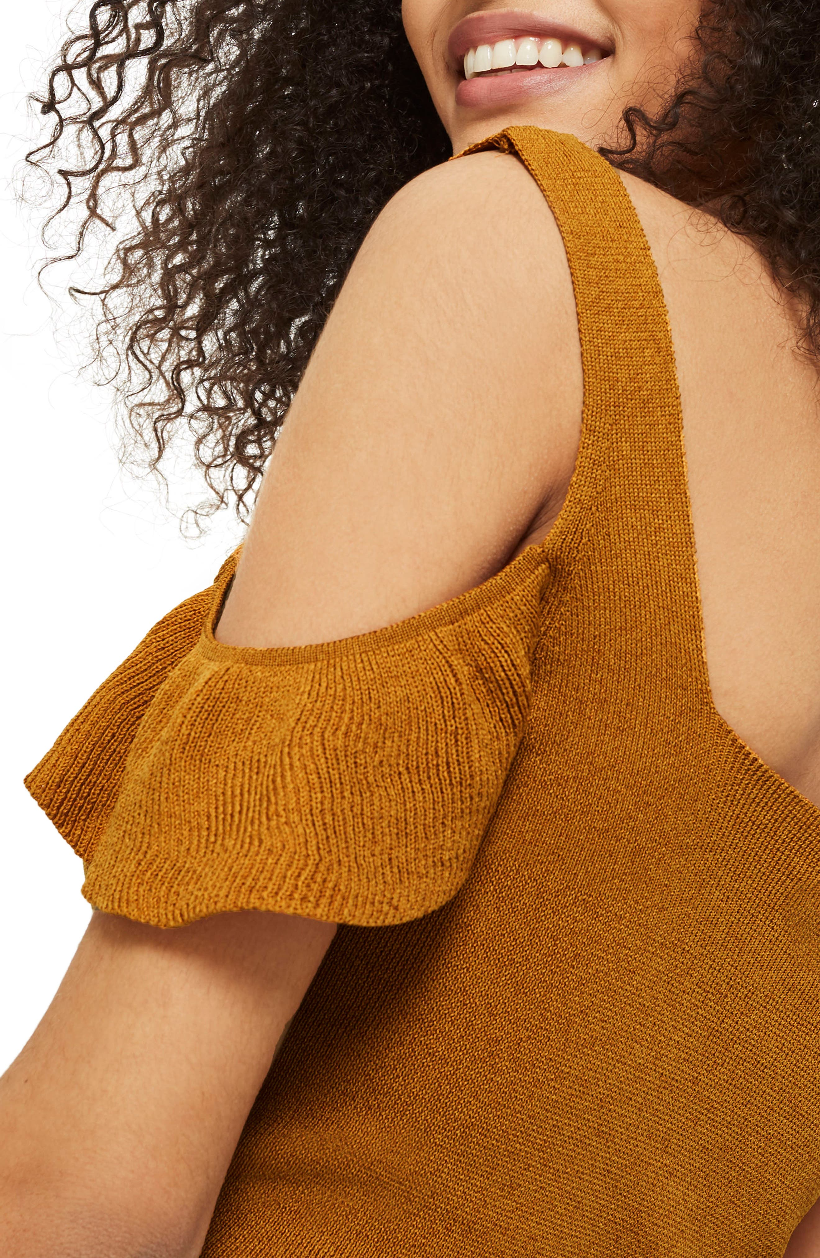 Ruffle Cold Shoulder Knit Top,                             Alternate thumbnail 3, color,                             Mustard