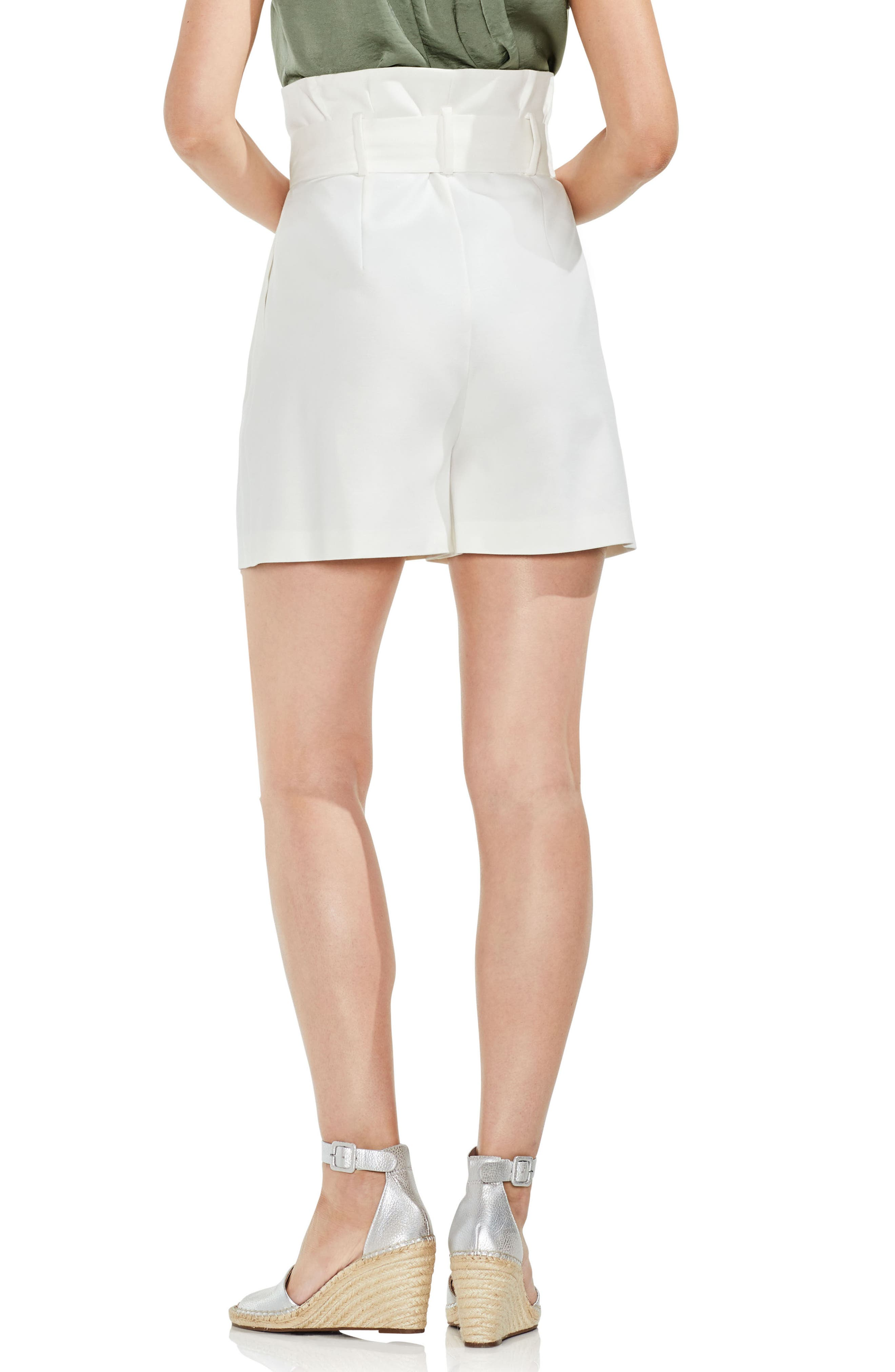 Belted High Waist Shorts,                             Alternate thumbnail 2, color,                             New Ivory