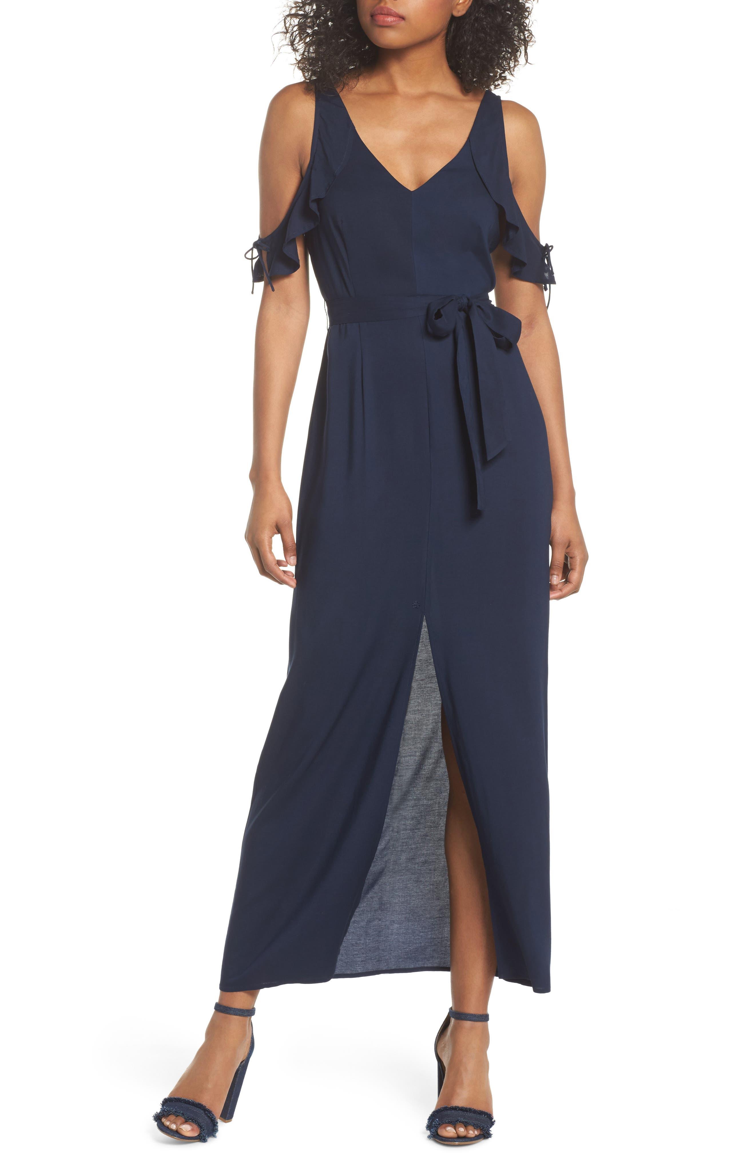 Lystra Cold Shoulder Maxi Dress,                         Main,                         color, Dark Ink Blue