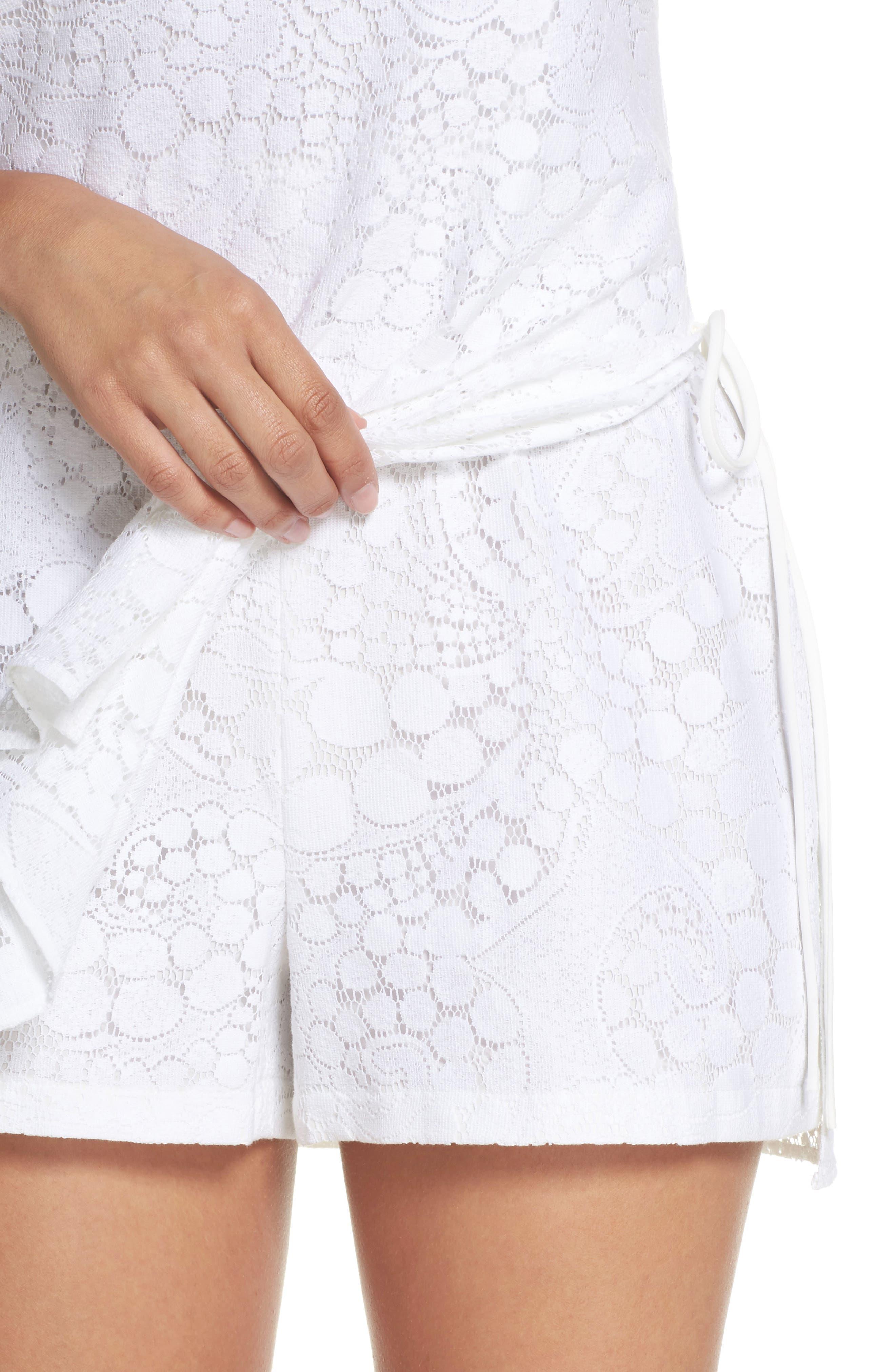 Donna Lace Romper,                             Alternate thumbnail 4, color,                             Resort White Mocean Lace