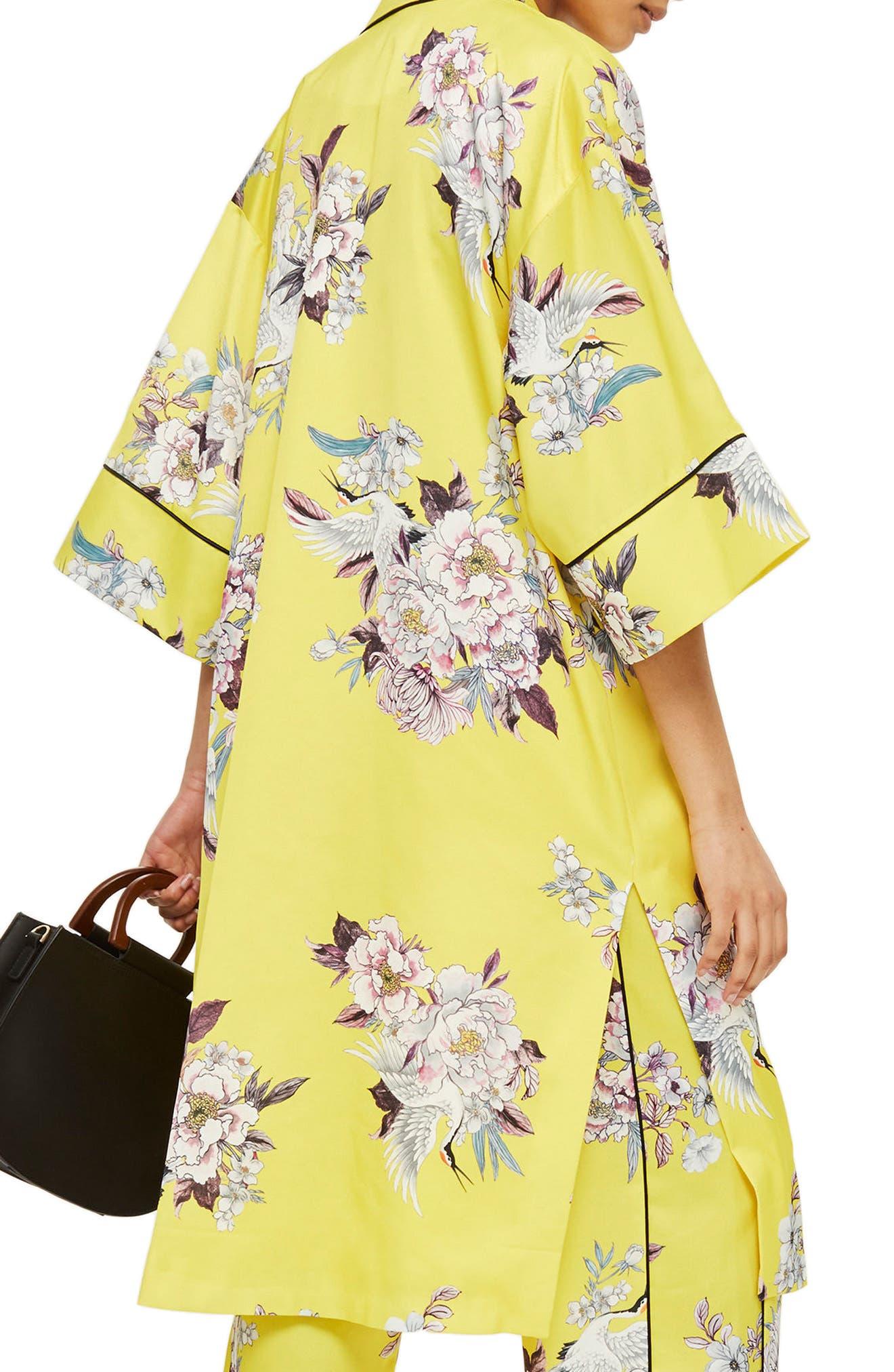 Heron Print Kimono,                             Alternate thumbnail 2, color,                             Yellow Multi