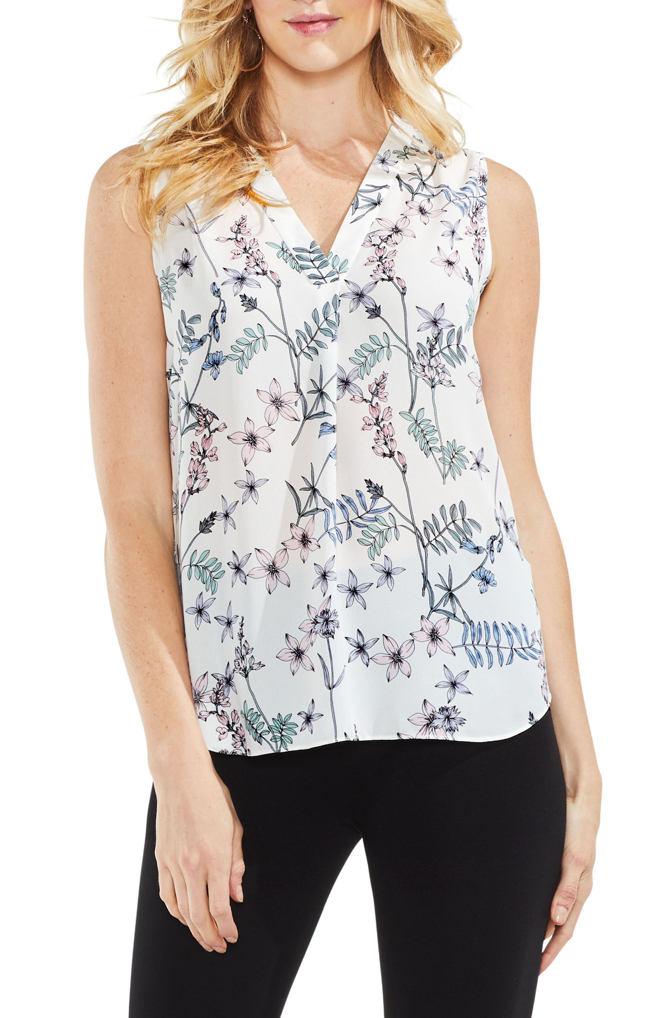 Floral Sleeveless Top,                             Main thumbnail 1, color,                             New Ivory