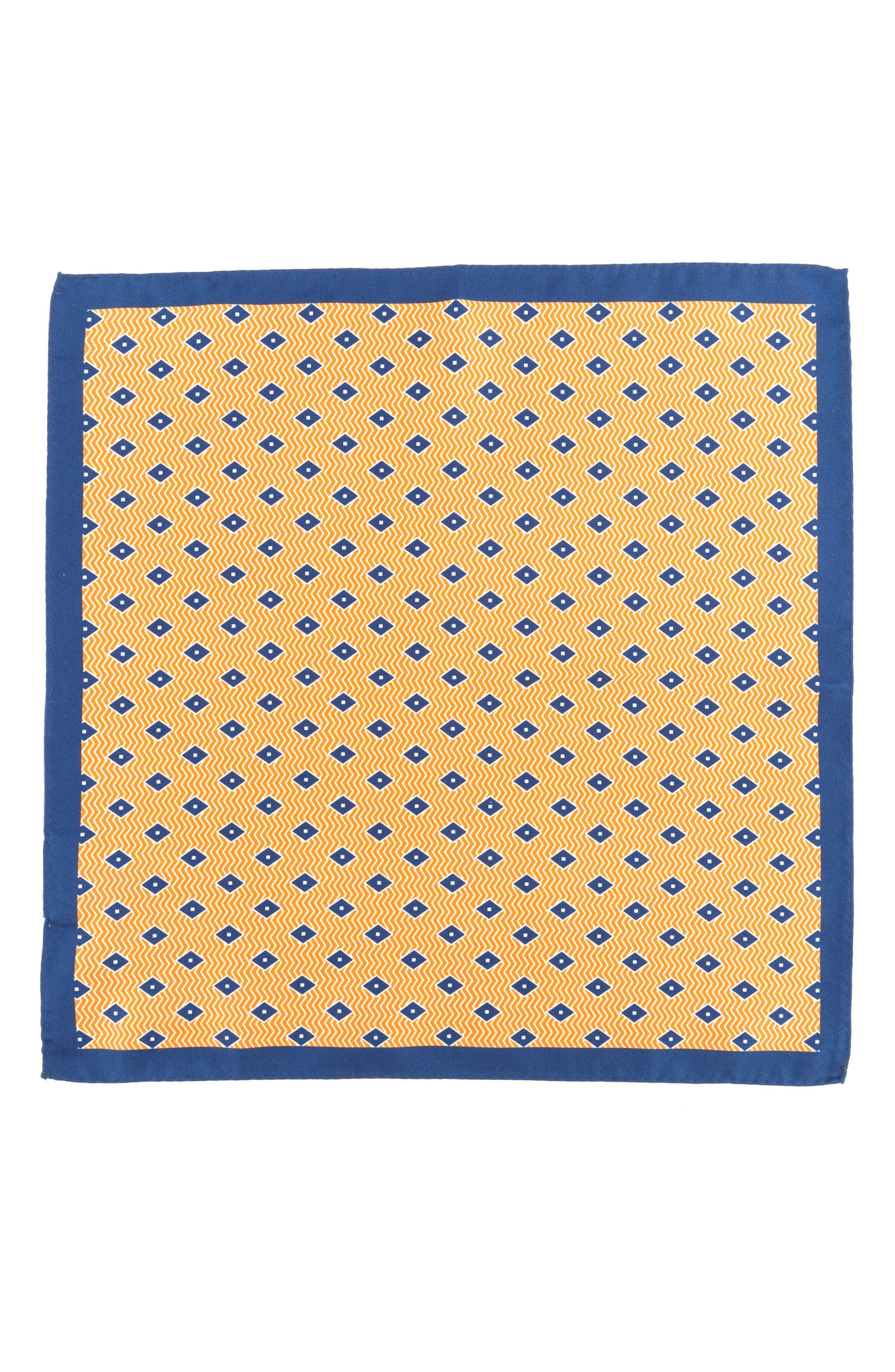 Diamond Silk Pocket Square,                             Alternate thumbnail 2, color,                             Orange