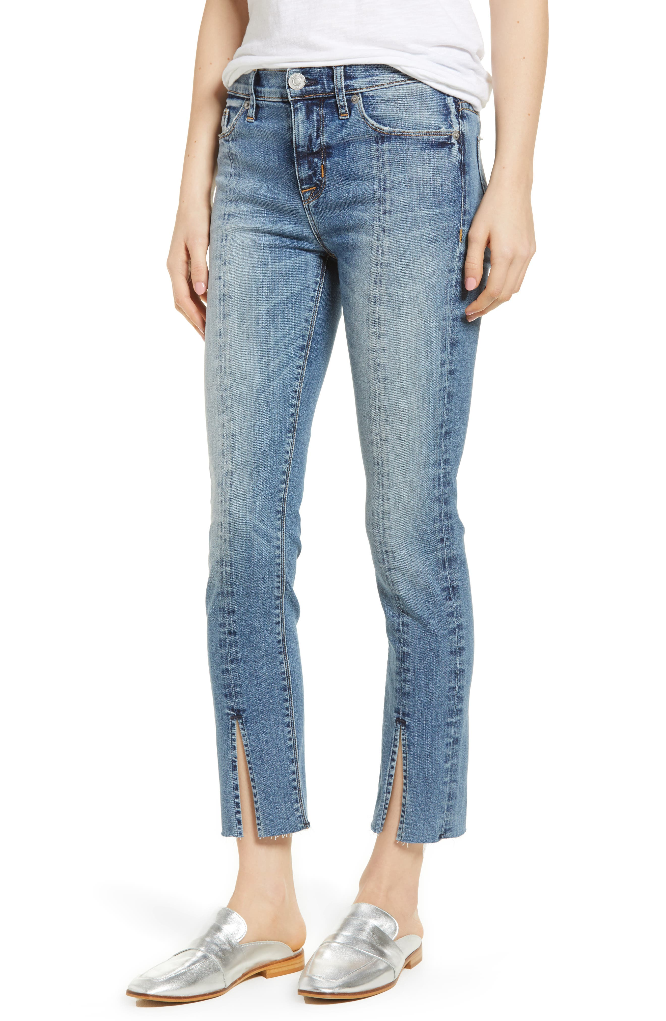 Nico Slit Hem Ankle Straight Leg Jeans,                             Main thumbnail 1, color,                             Moxie