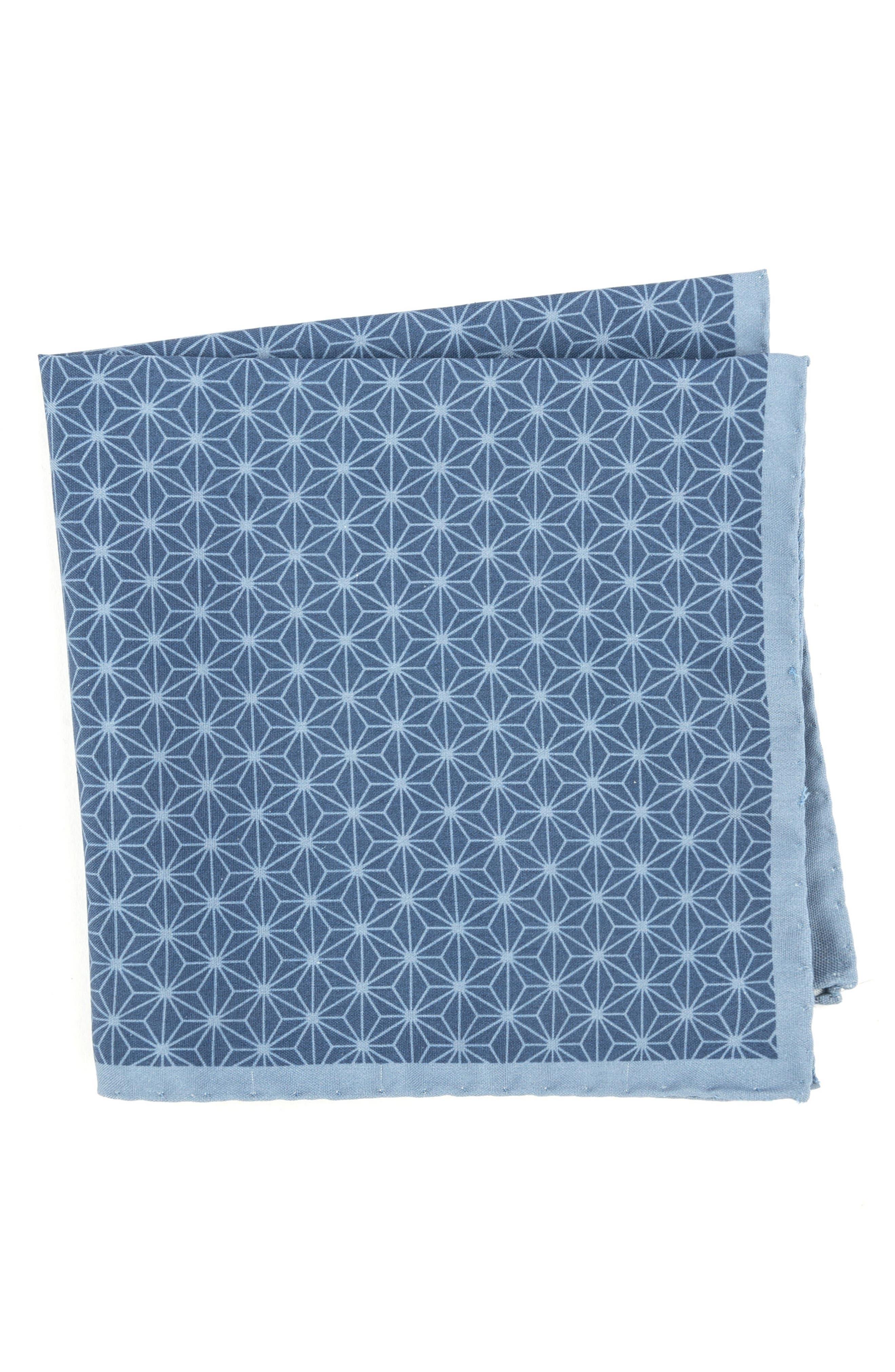 Starburst Geometric Silk Pocket Square,                         Main,                         color, Light Blue