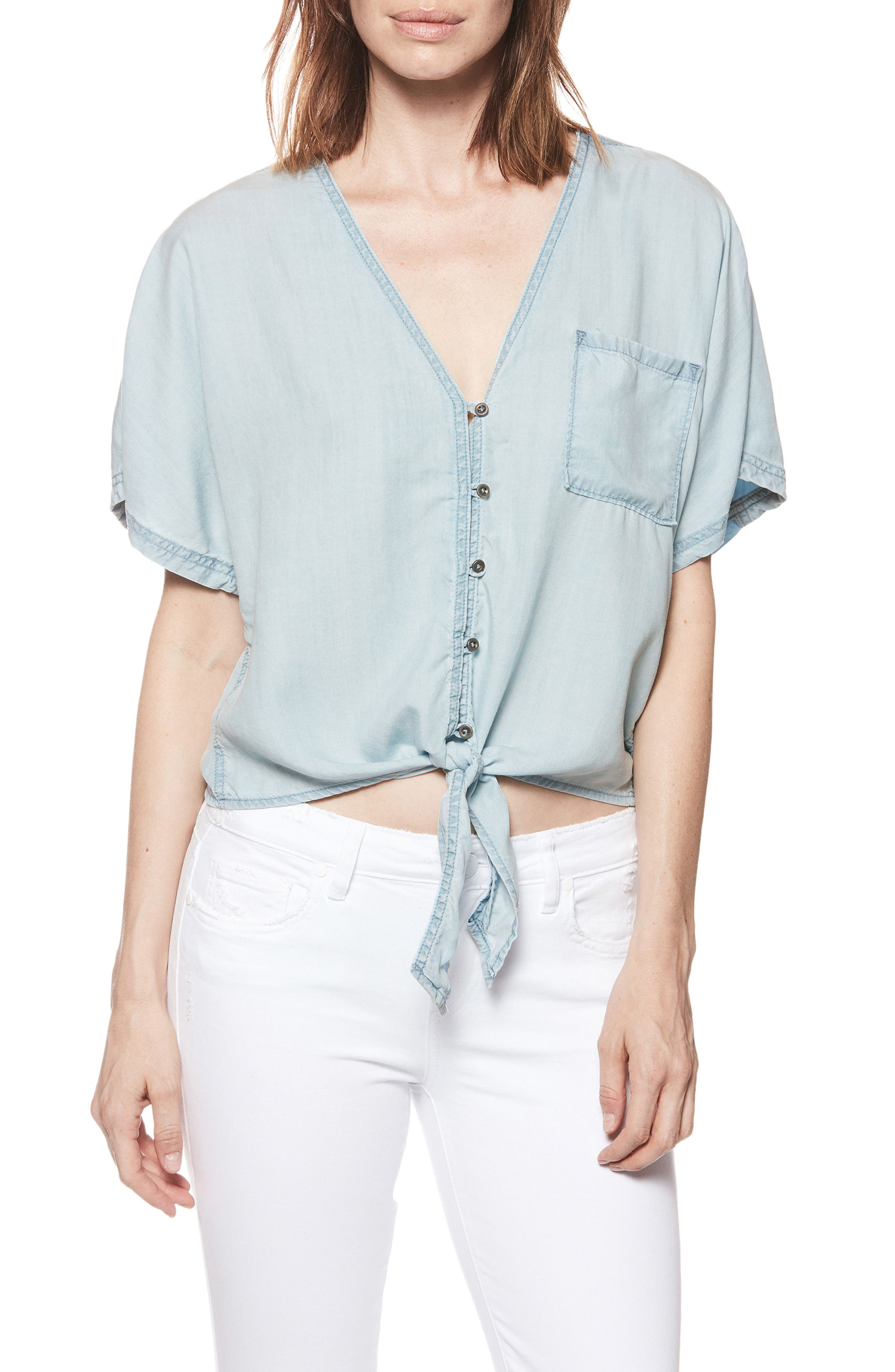 Baylee Tie Front Top,                             Main thumbnail 1, color,                             Eiffel