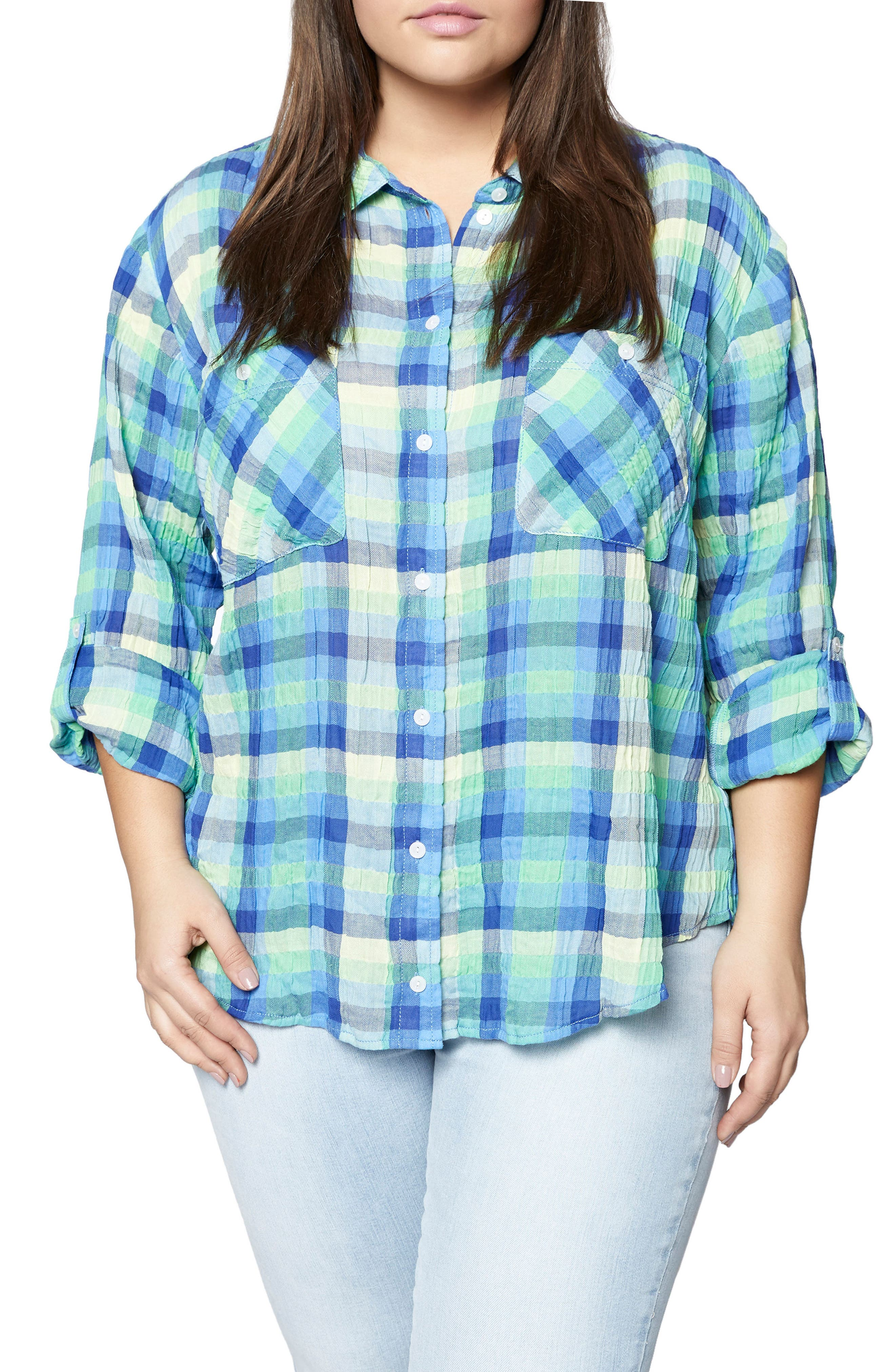 The Steady Boyfriend Plaid Shirt,                             Main thumbnail 1, color,                             Spring Renewal
