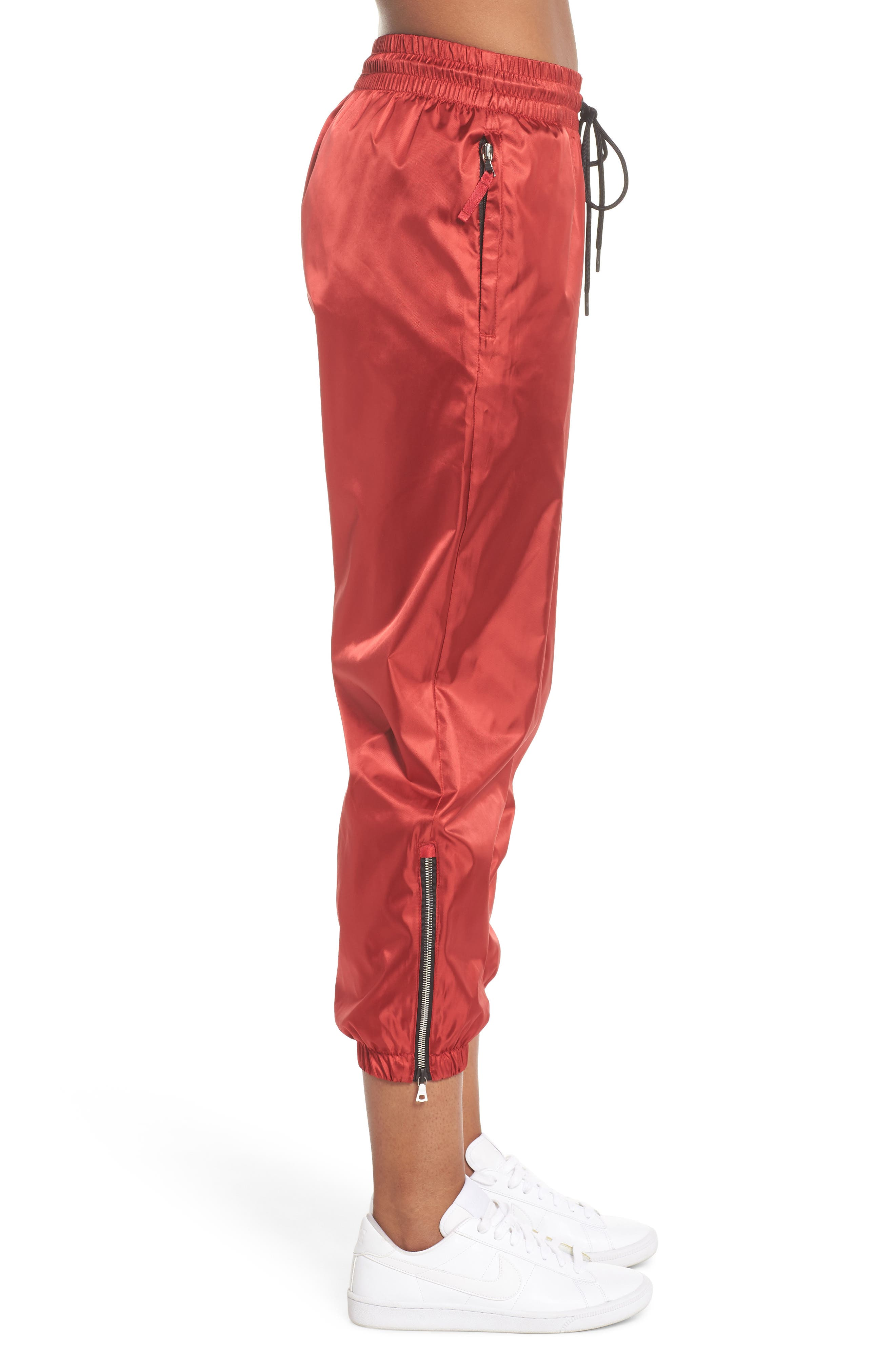 NikeLab Collection Women's Satin Track Pants,                             Alternate thumbnail 3, color,                             Gym Red/ Black