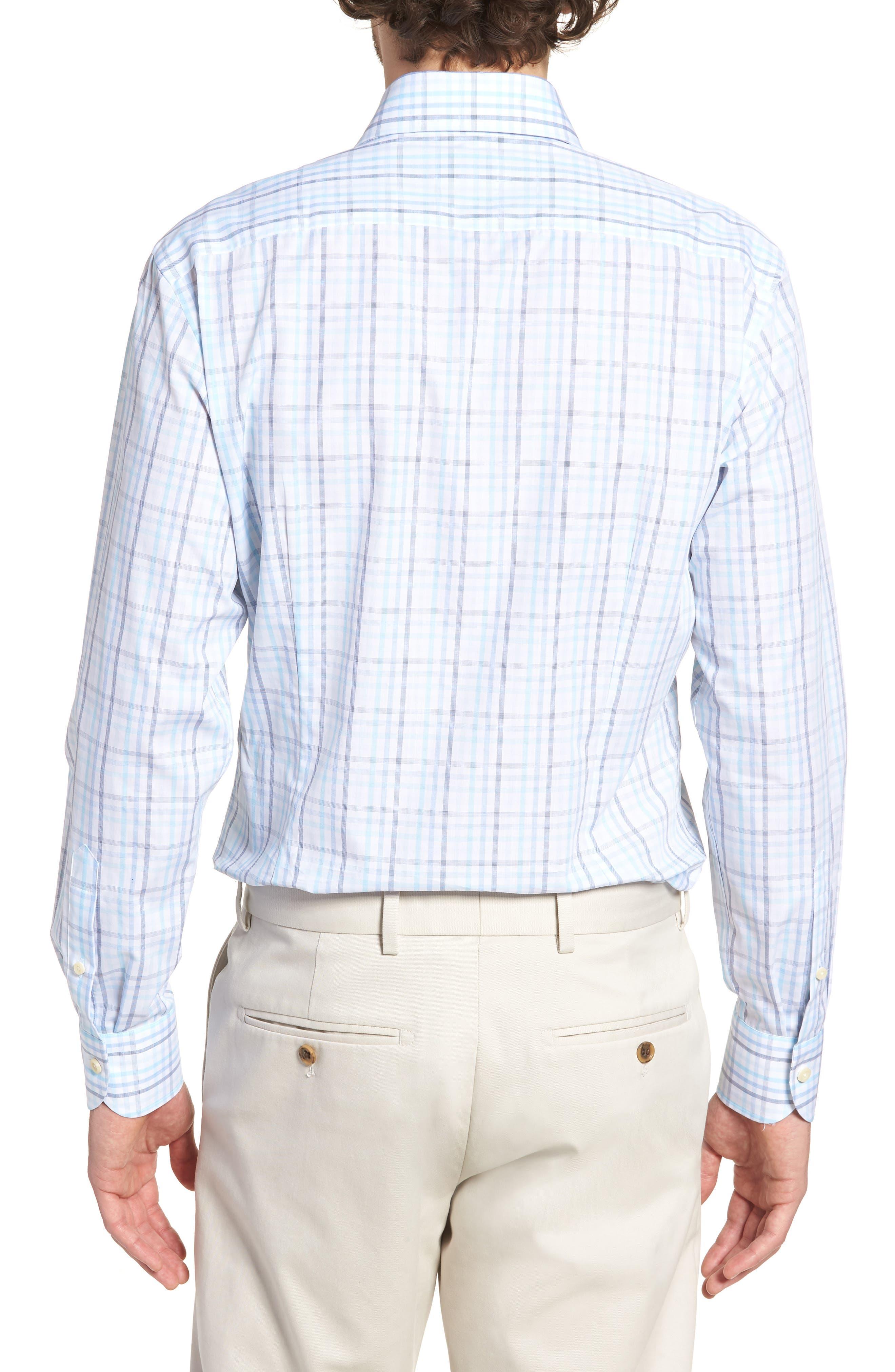 Pelton Slim Fit Check Dress Shirt,                             Alternate thumbnail 3, color,                             Turquoise/ Aqua