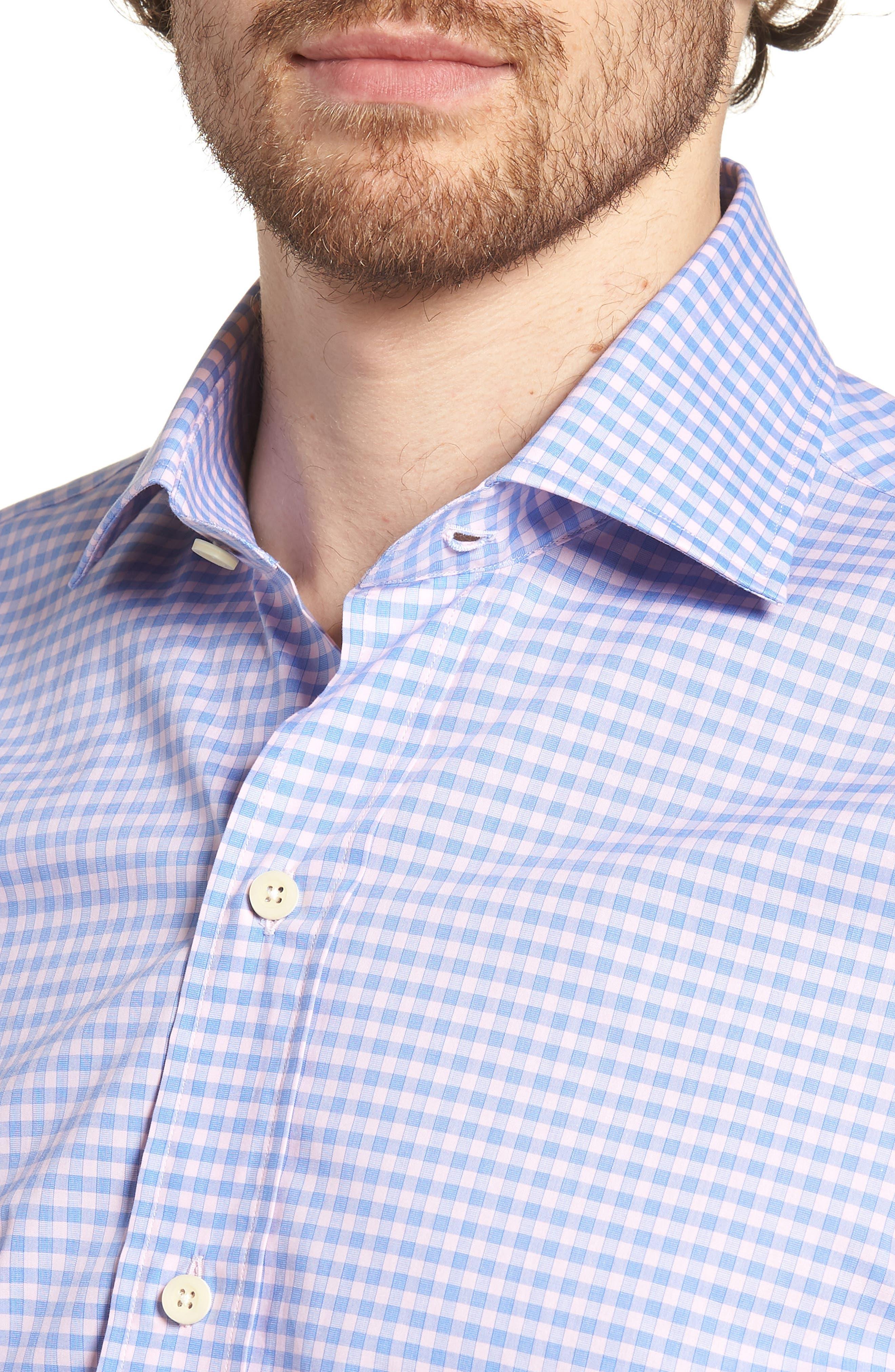 Prestwick Slim Fit Check Dress Shirt,                             Alternate thumbnail 4, color,                             Pink