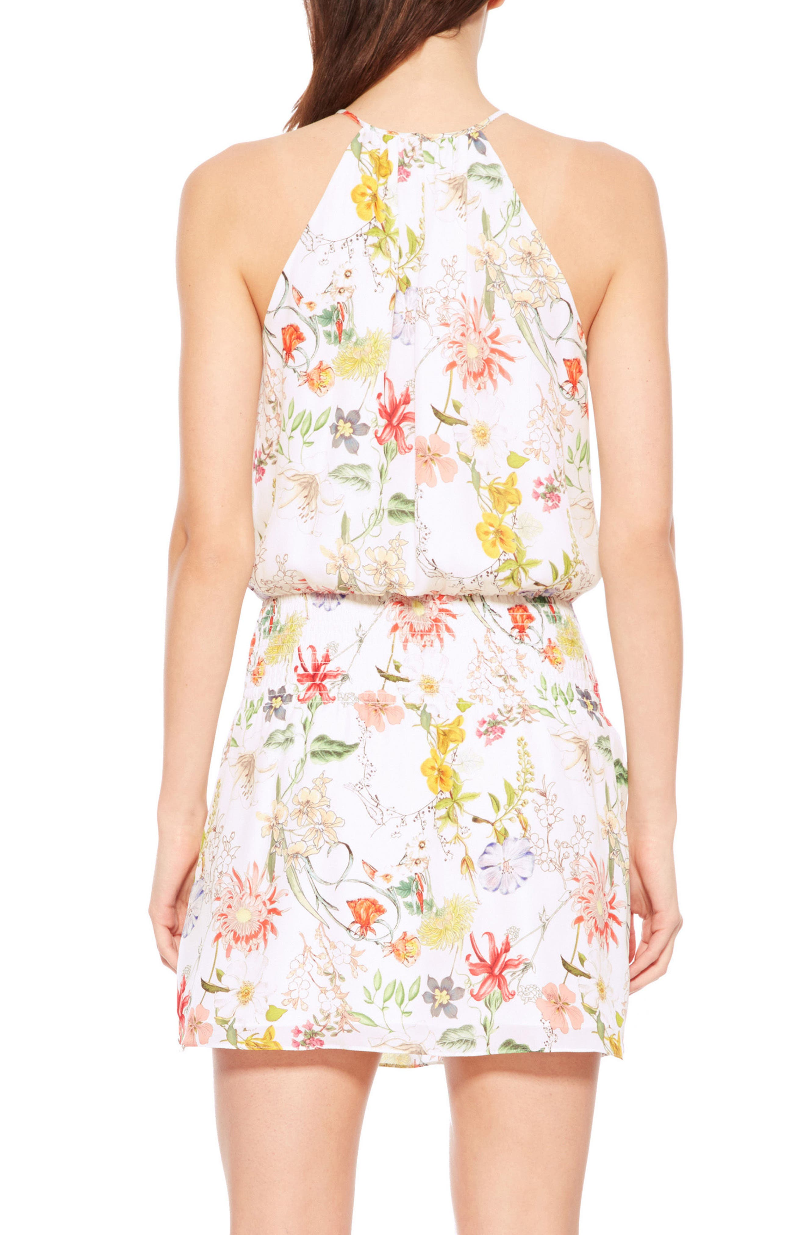 Larissa Floral Silk Dress,                             Alternate thumbnail 2, color,                             Sangria
