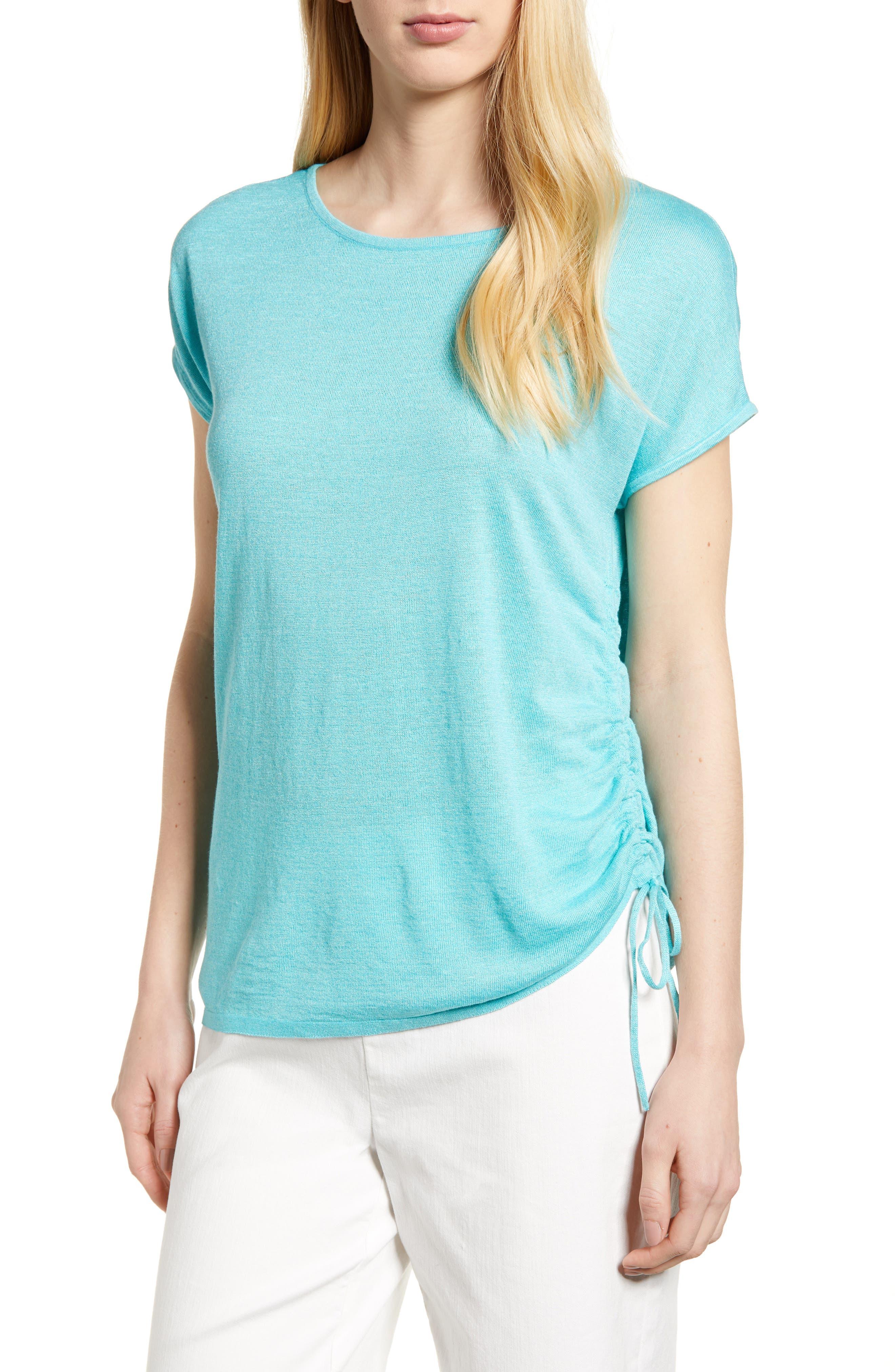 Refreshing Side Tie Top,                         Main,                         color, Aqua
