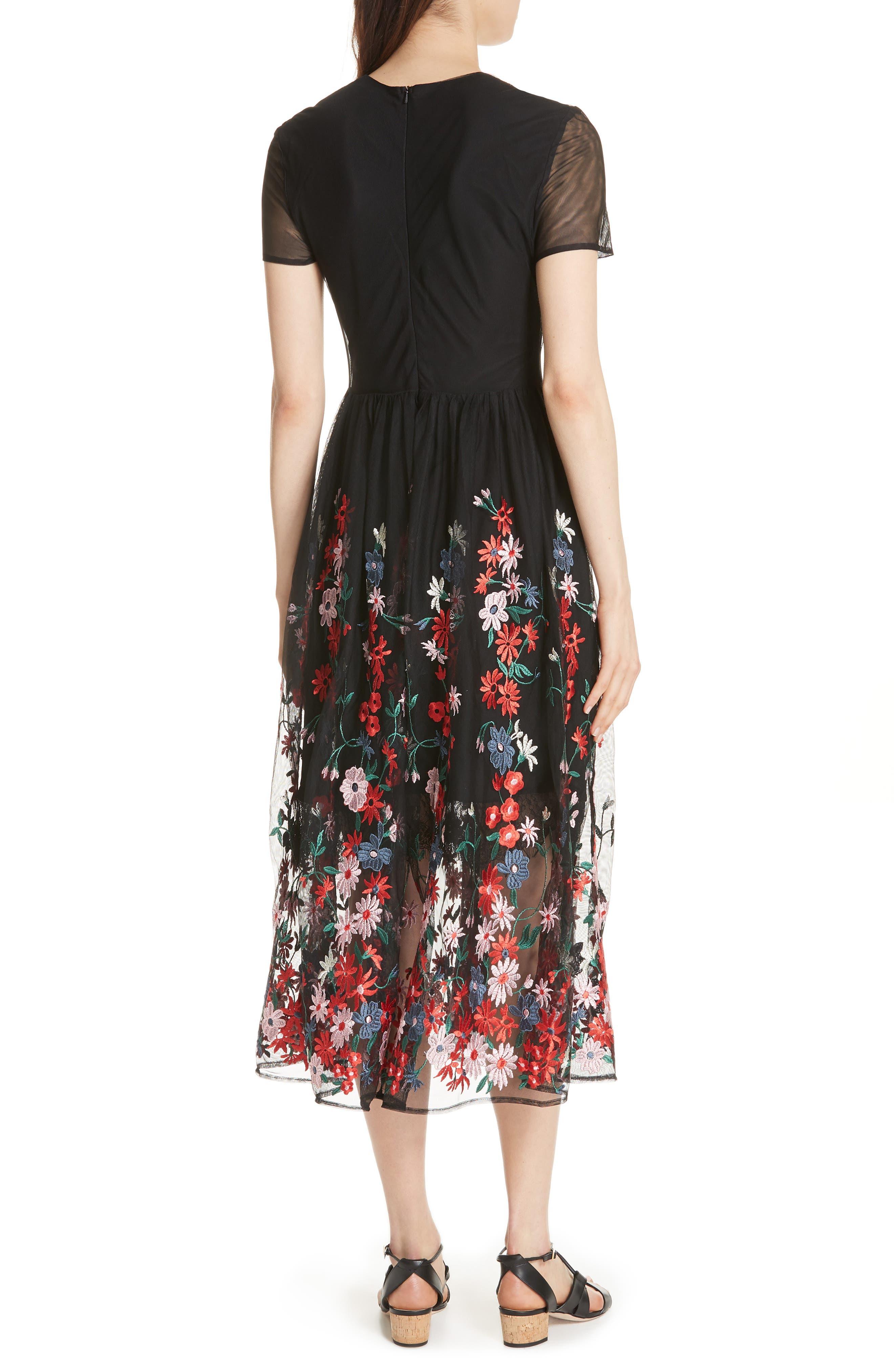 Raphael Embroidered Midi Dress,                             Alternate thumbnail 2, color,                             Black 210