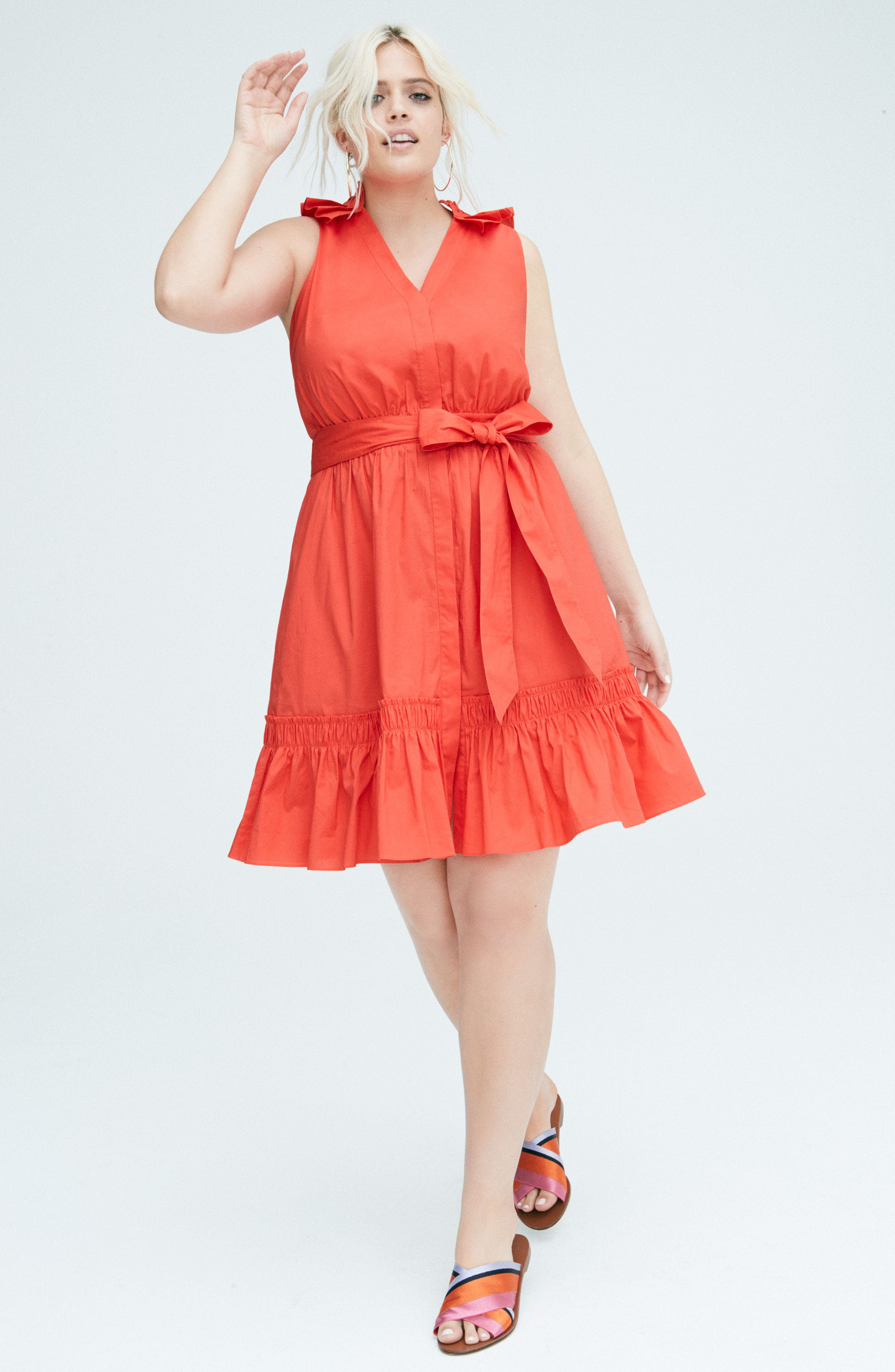 Pleat Collar Fit & Flare Dress,                             Alternate thumbnail 2, color,                             Red Bloom