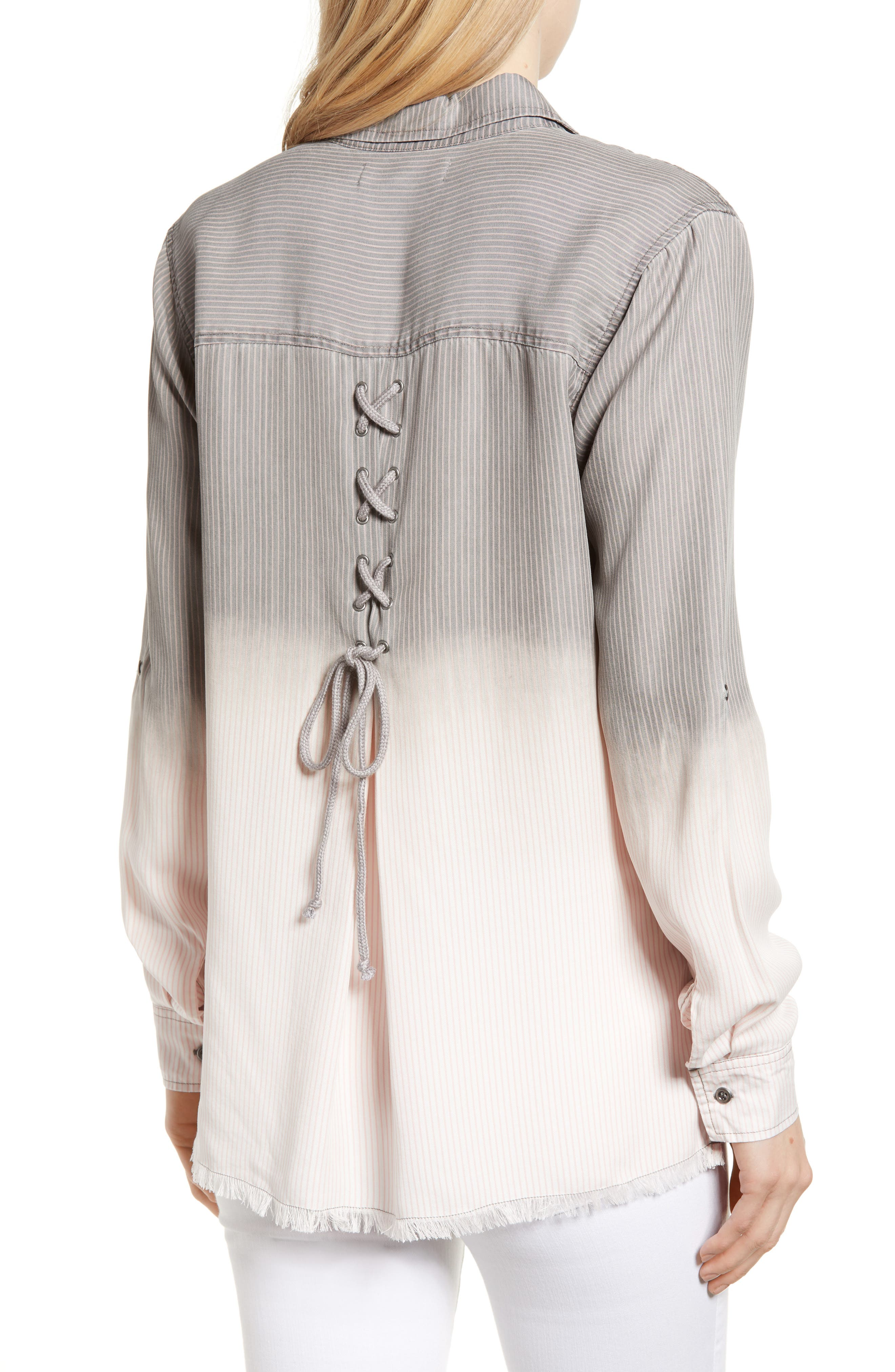 Laced Back Button Up Shirt,                             Alternate thumbnail 2, color,                             Grey Rr Stripe