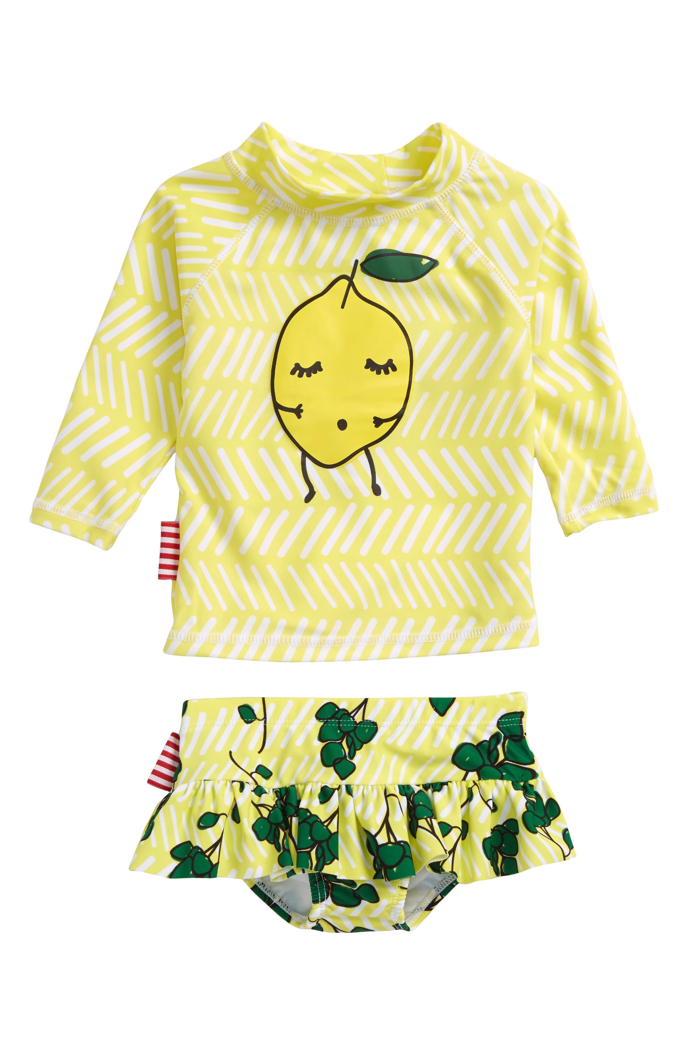 Limun Two-Piece Rashguard Swimsuit,                         Main,                         color, Yellow