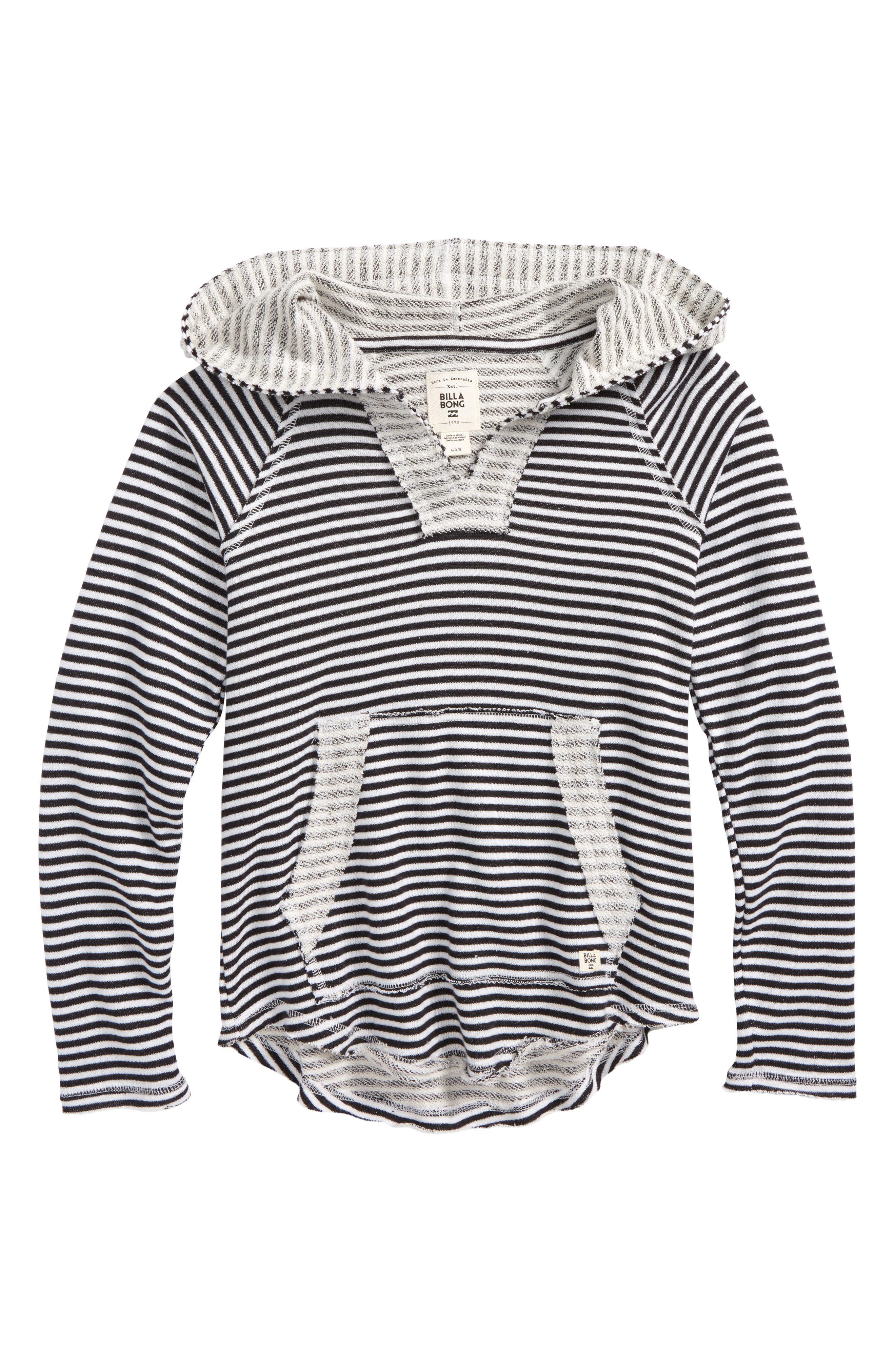 Laid Back Stripe Knit Hoodie,                         Main,                         color, Black/ White