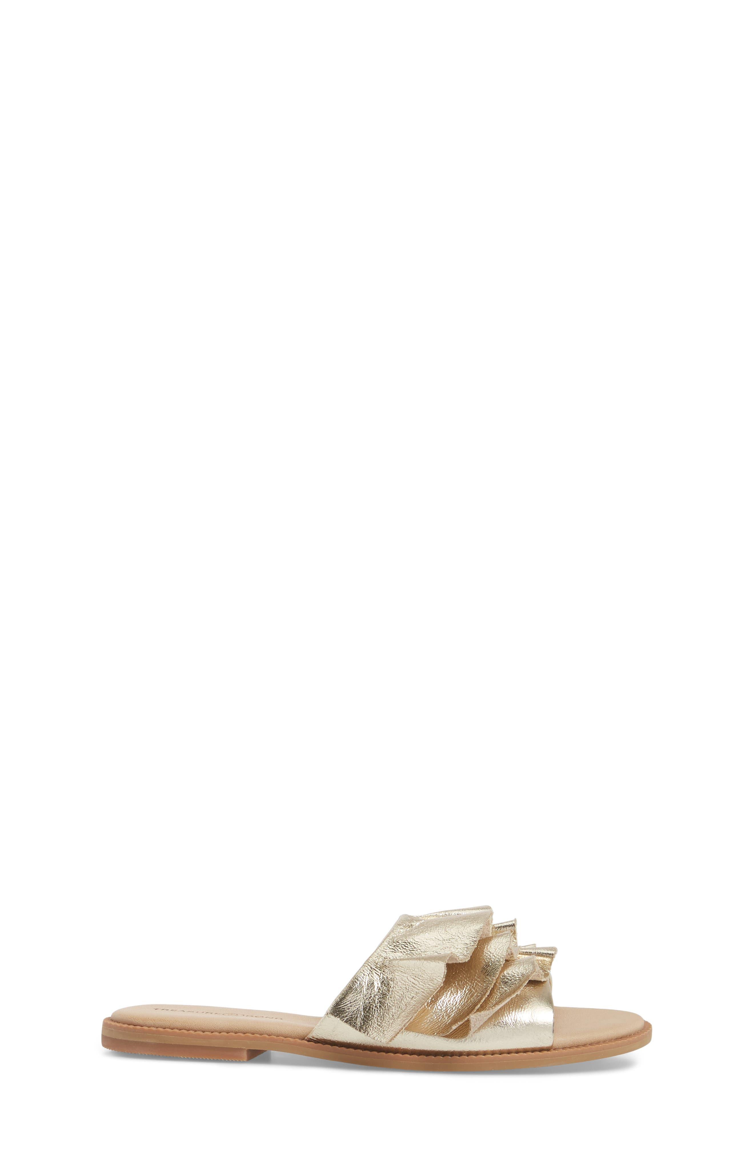 Ruby Ruffled Slide Sandal,                             Alternate thumbnail 3, color,                             Gold Crackle Faux Leather